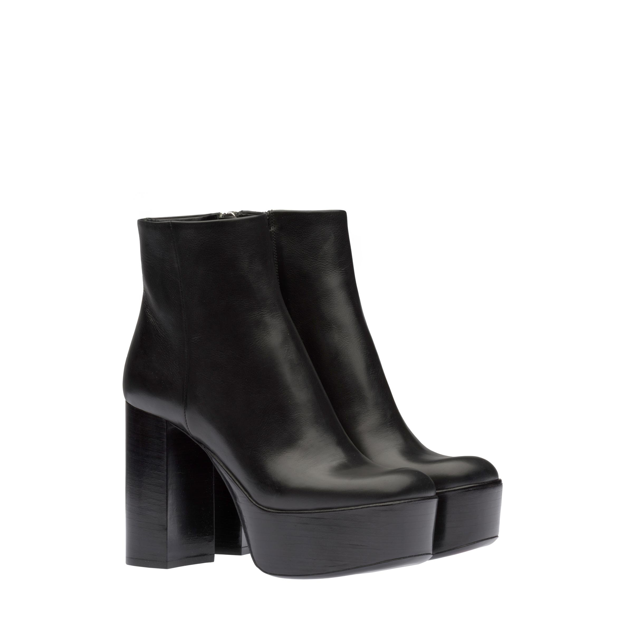 Laced Leather Platform Booties Women Black