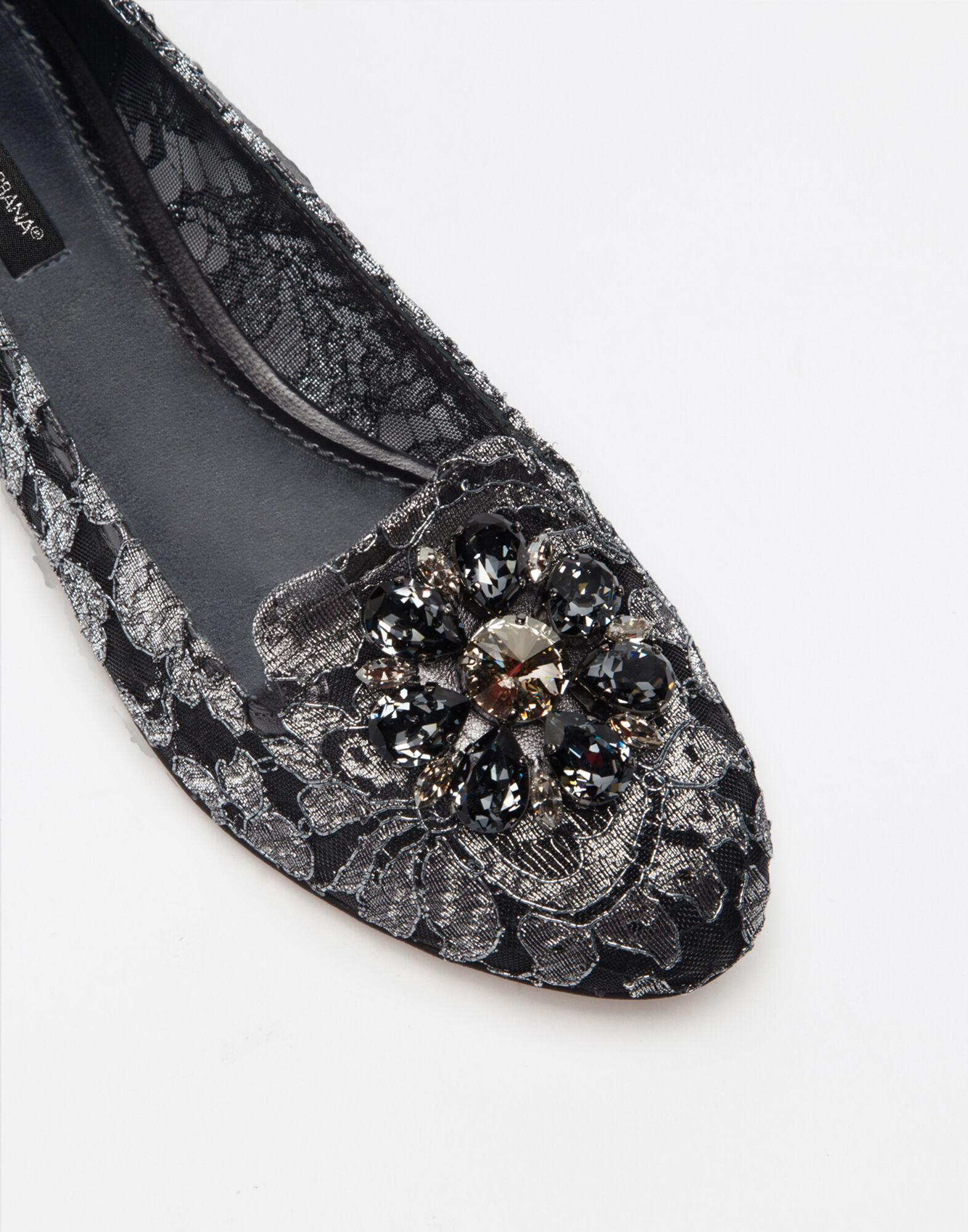 Slipper in Taormina lurex lace with crystals 3