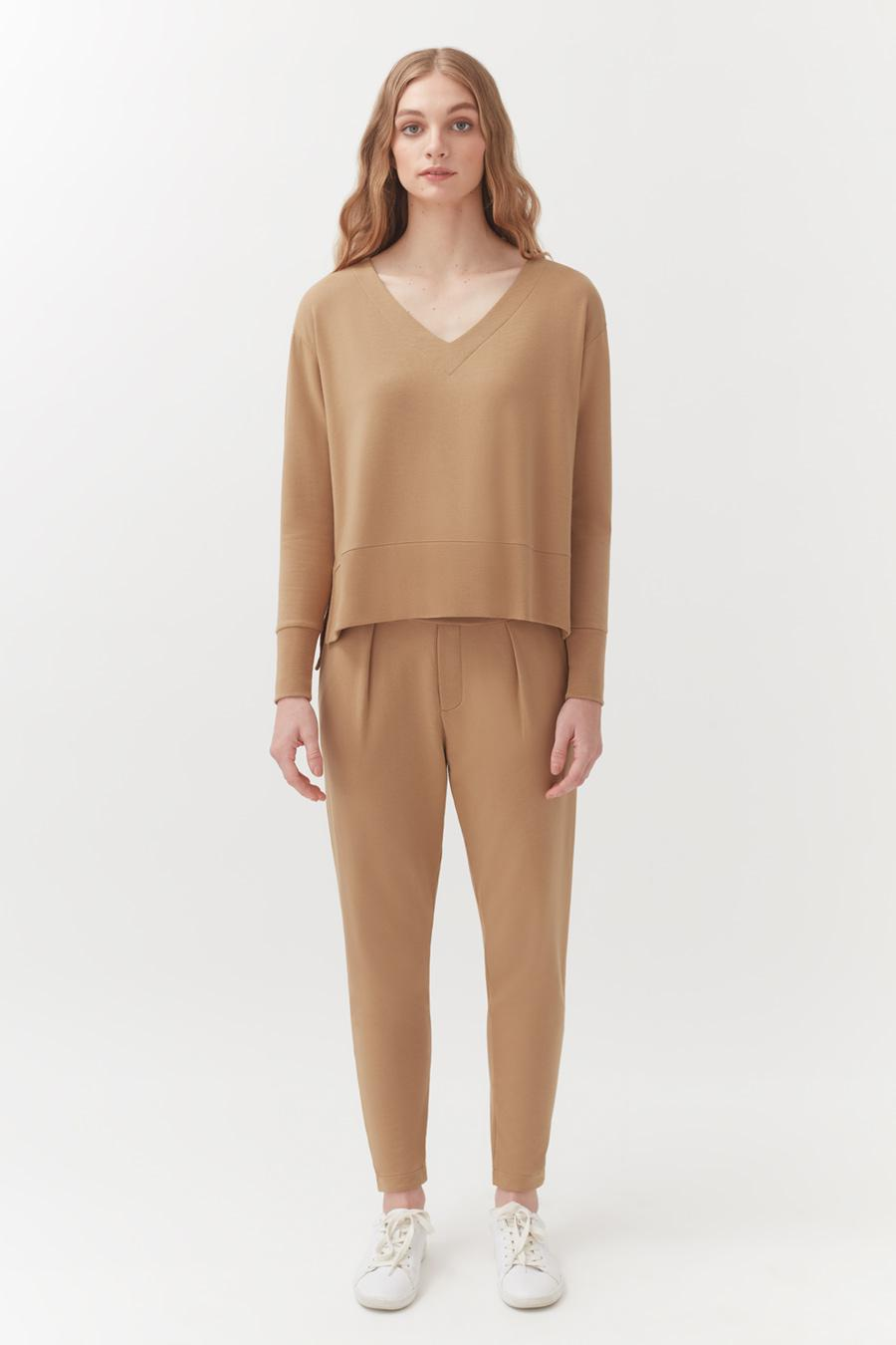 Women's French Terry Pleated Front Pant in Camel   Size: 1