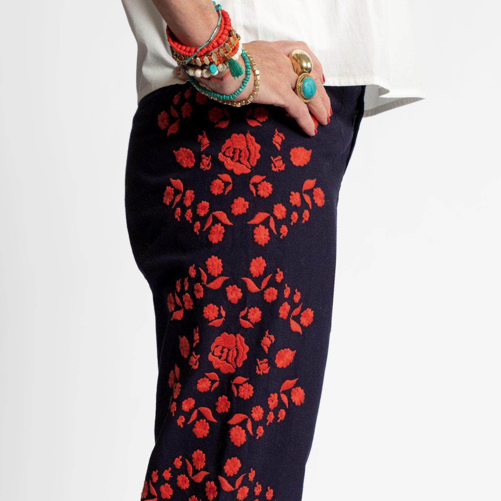 Floral Embroidered Pant Navy Red 4