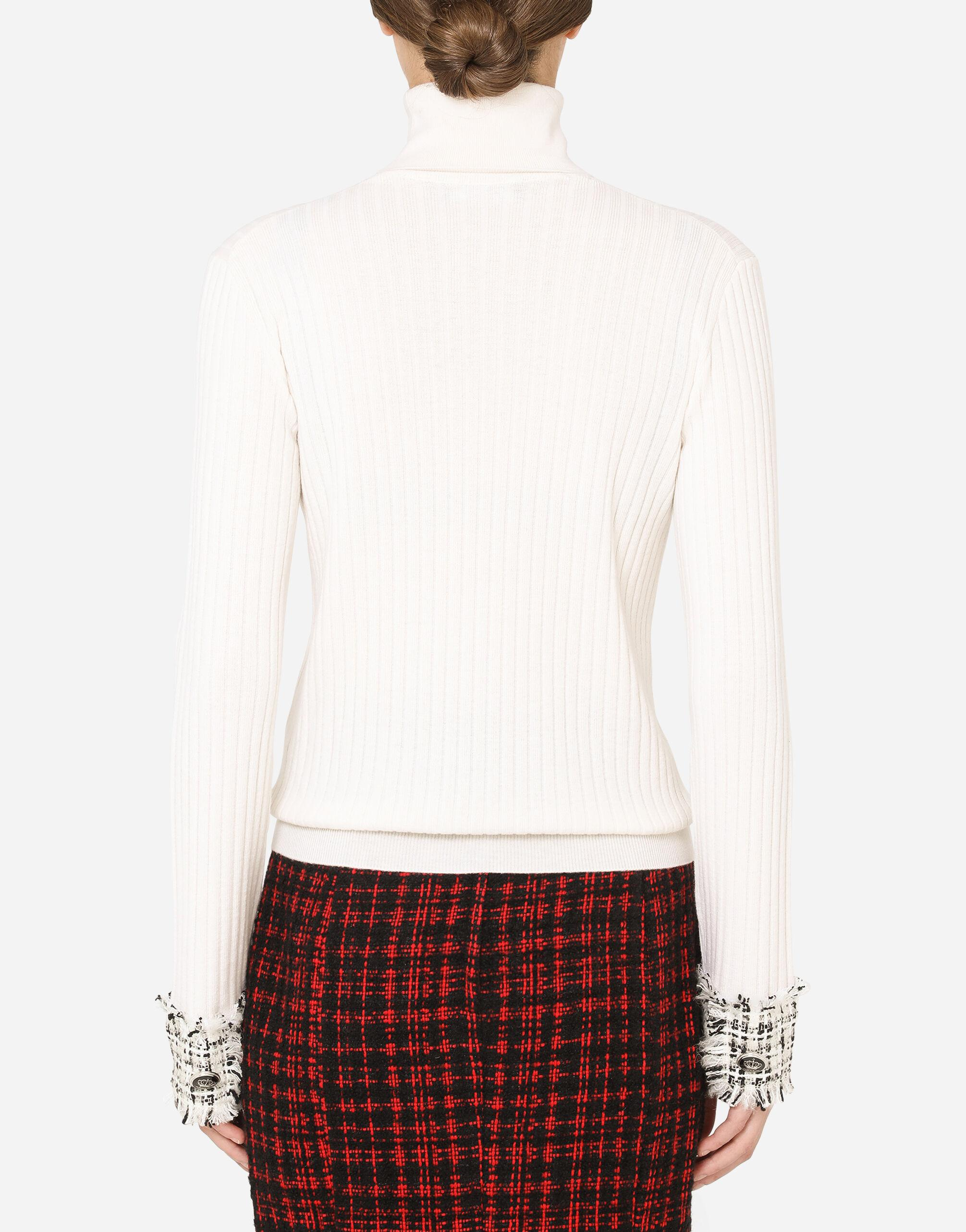 Wool turtle-neck sweater with tweed cuffs 1