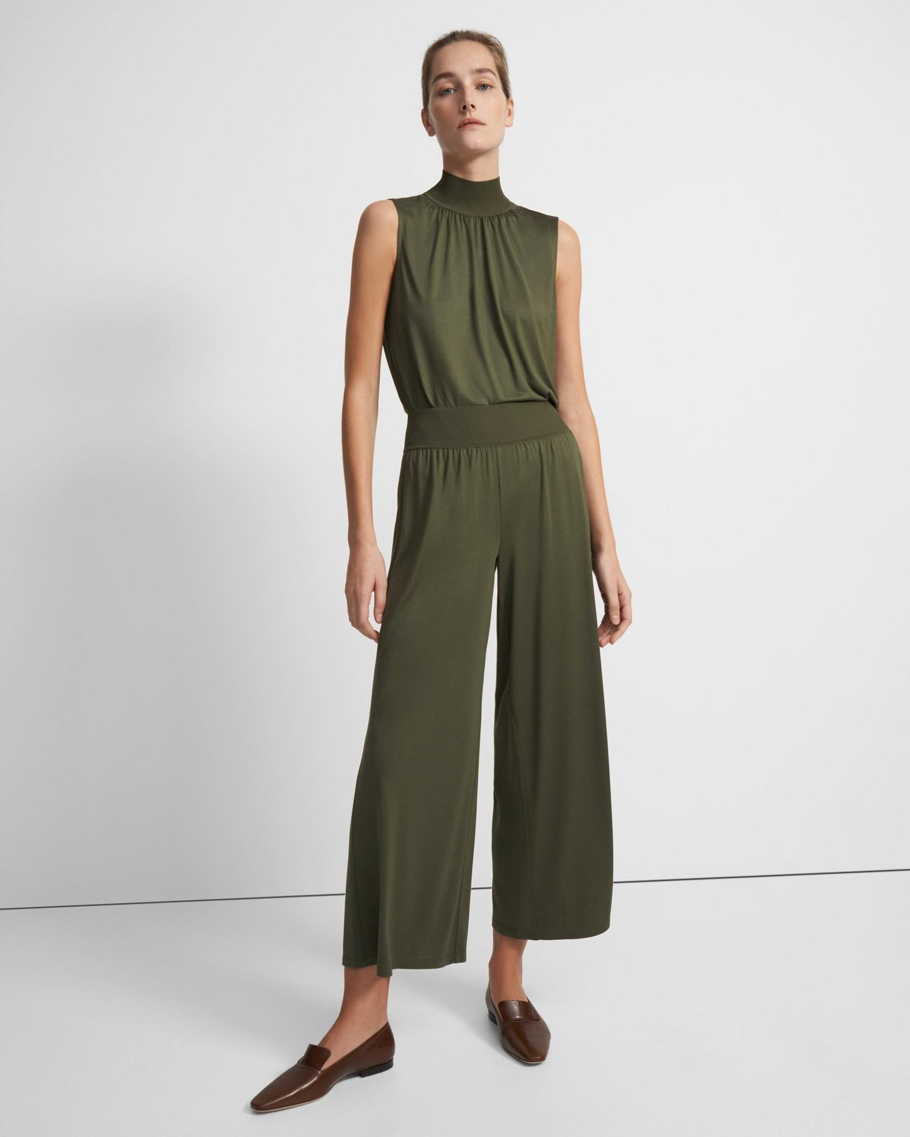 Ribbed Waist Pant in Silk Jersey 0