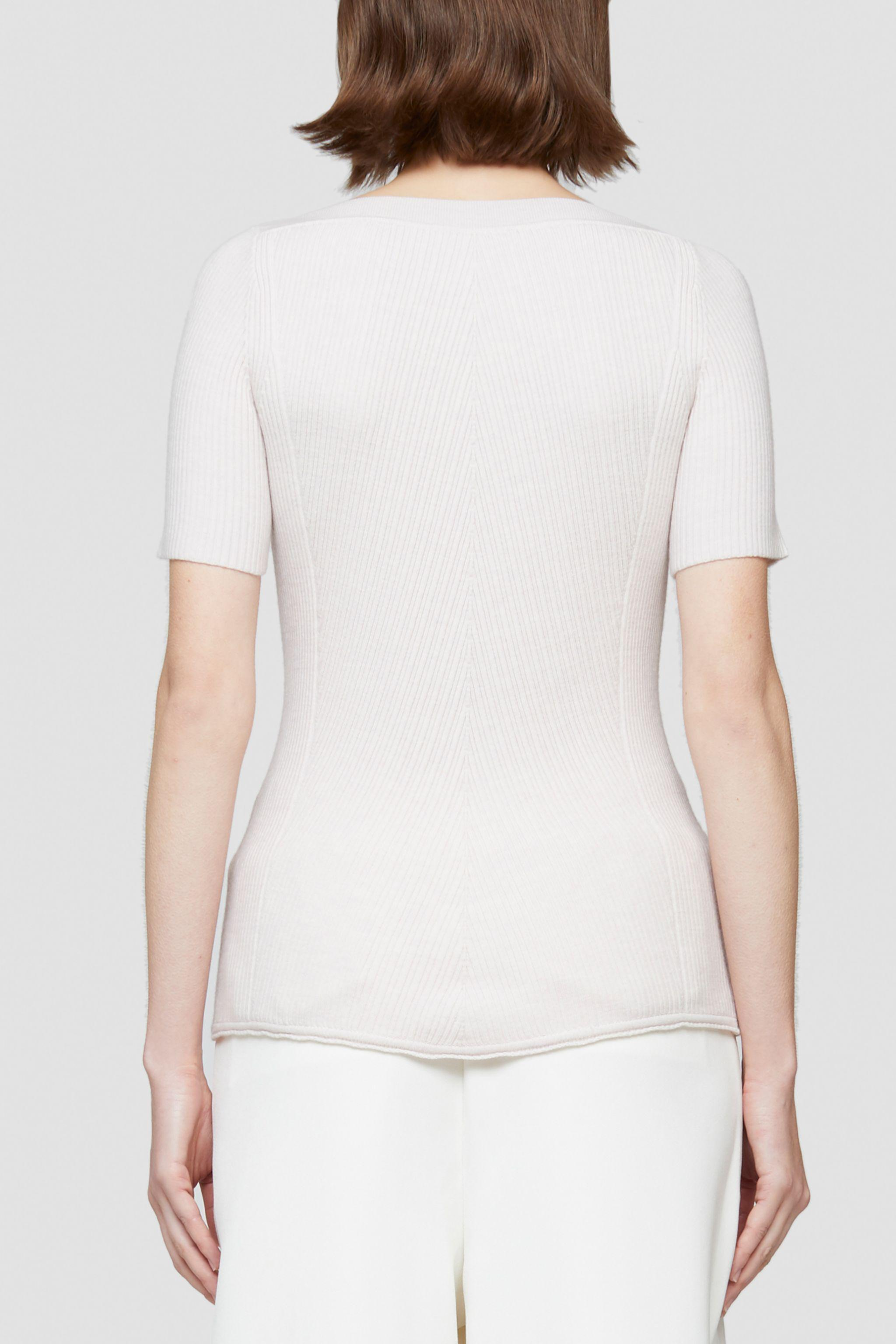 Open Neck Short Sleeve Ribbed Sweater 2