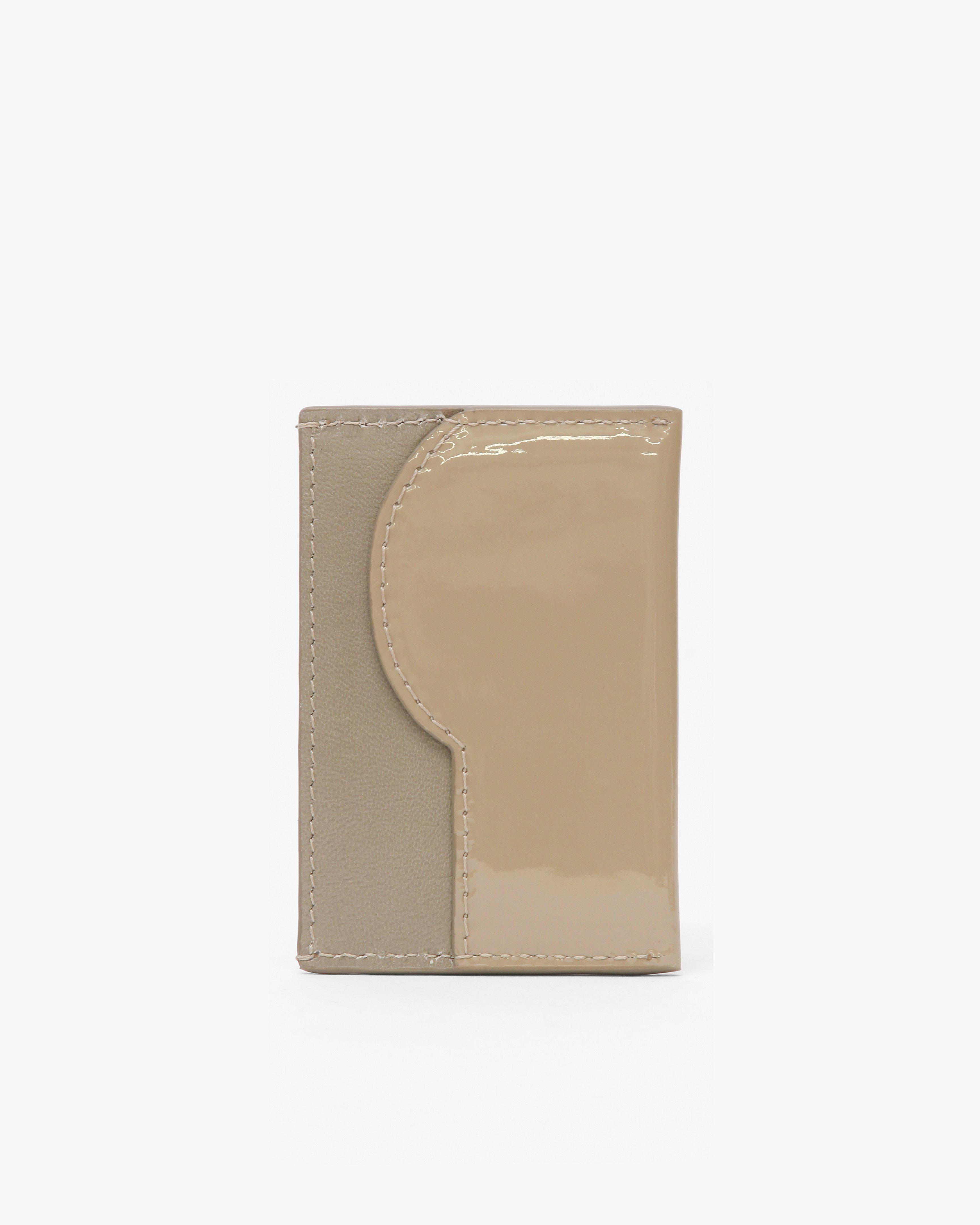 RP Card Holder Leather Patent Beige + Nappa Taupe 1