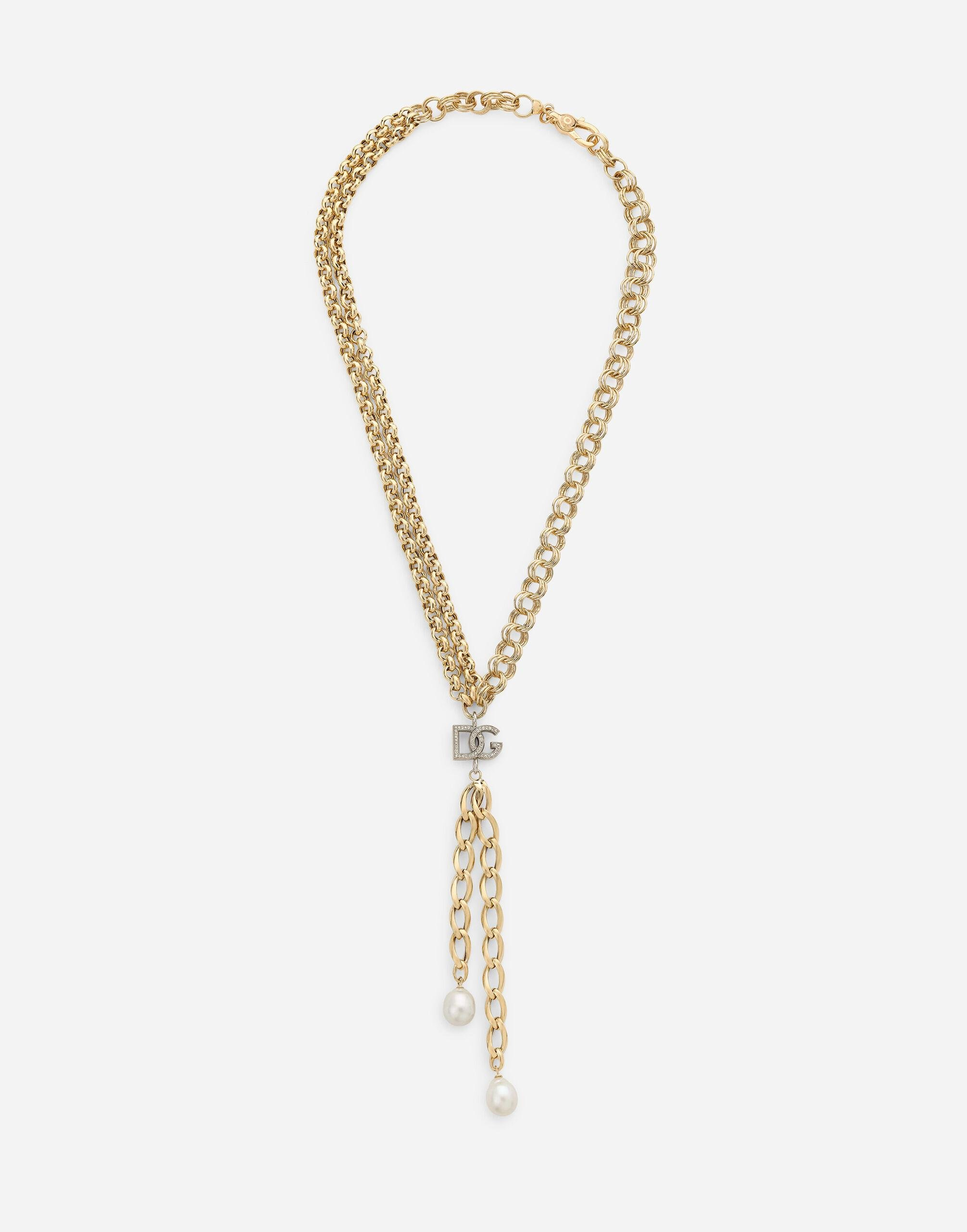 Logo necklace in yellow and white 18kt gold with colorless sapphires and pearls