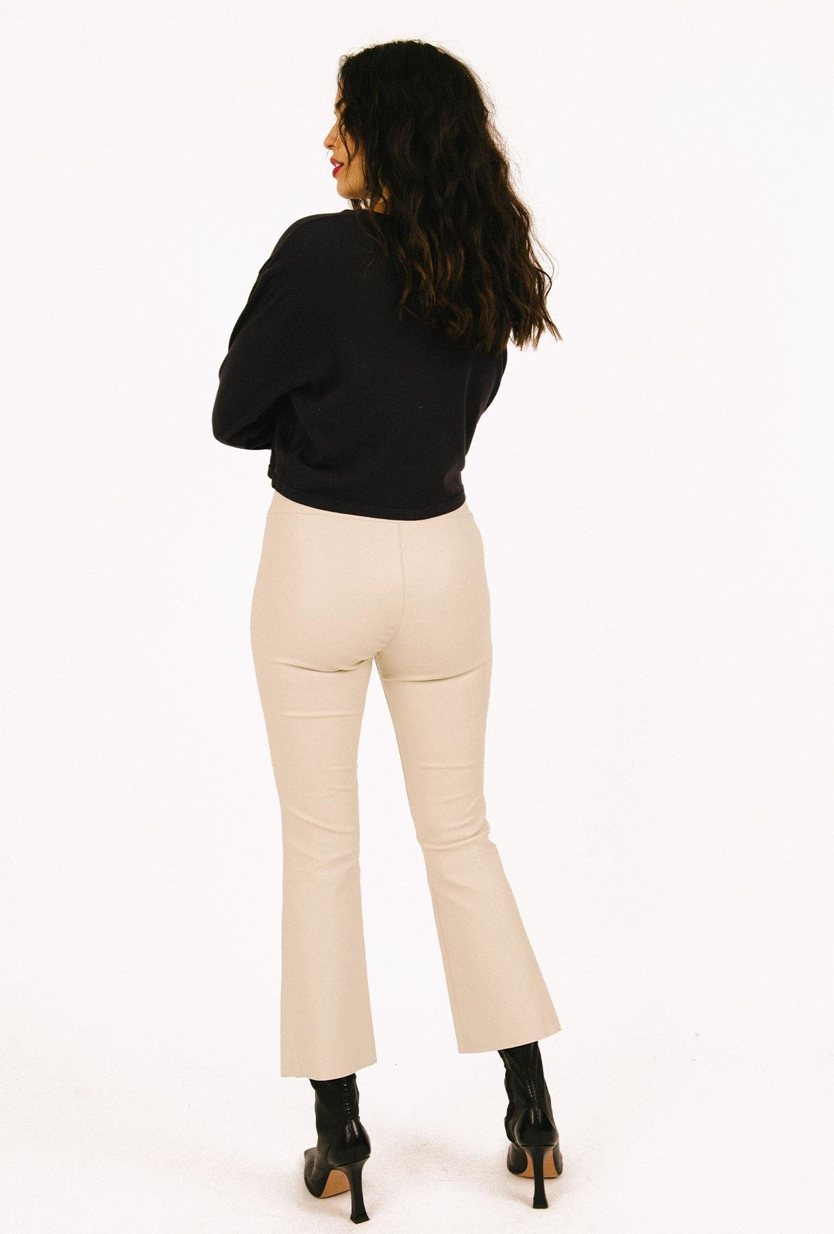 Moss Gold Leather Crop Flare Legging 1