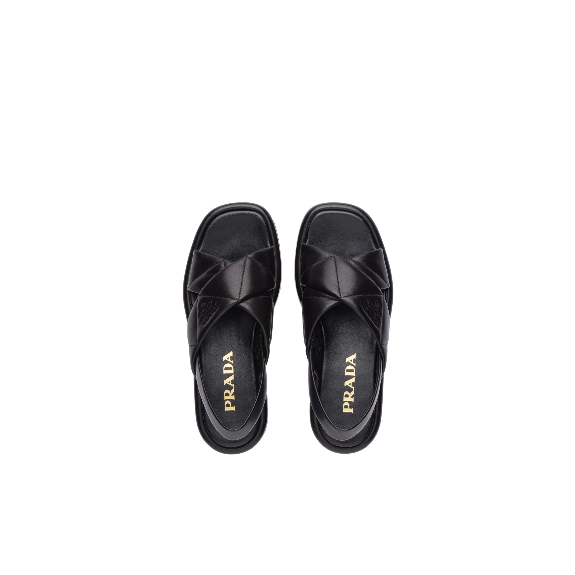 Quilted Nappa Leather Flatform Sandals Women Black 1