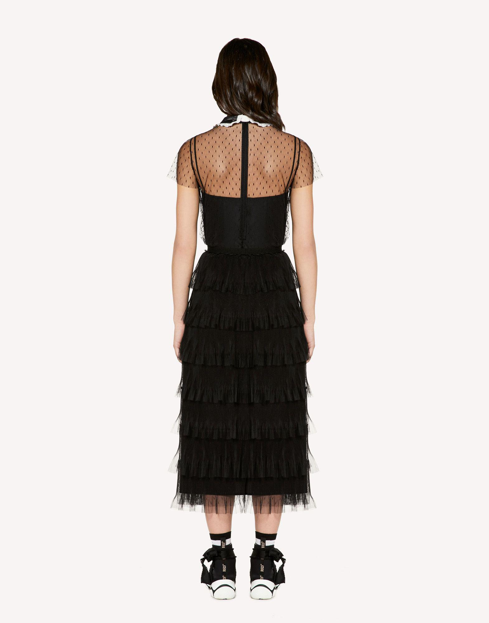 POINT D'ESPRIT TULLE TOP WITH ROUNDED COLLAR AND BOW 1