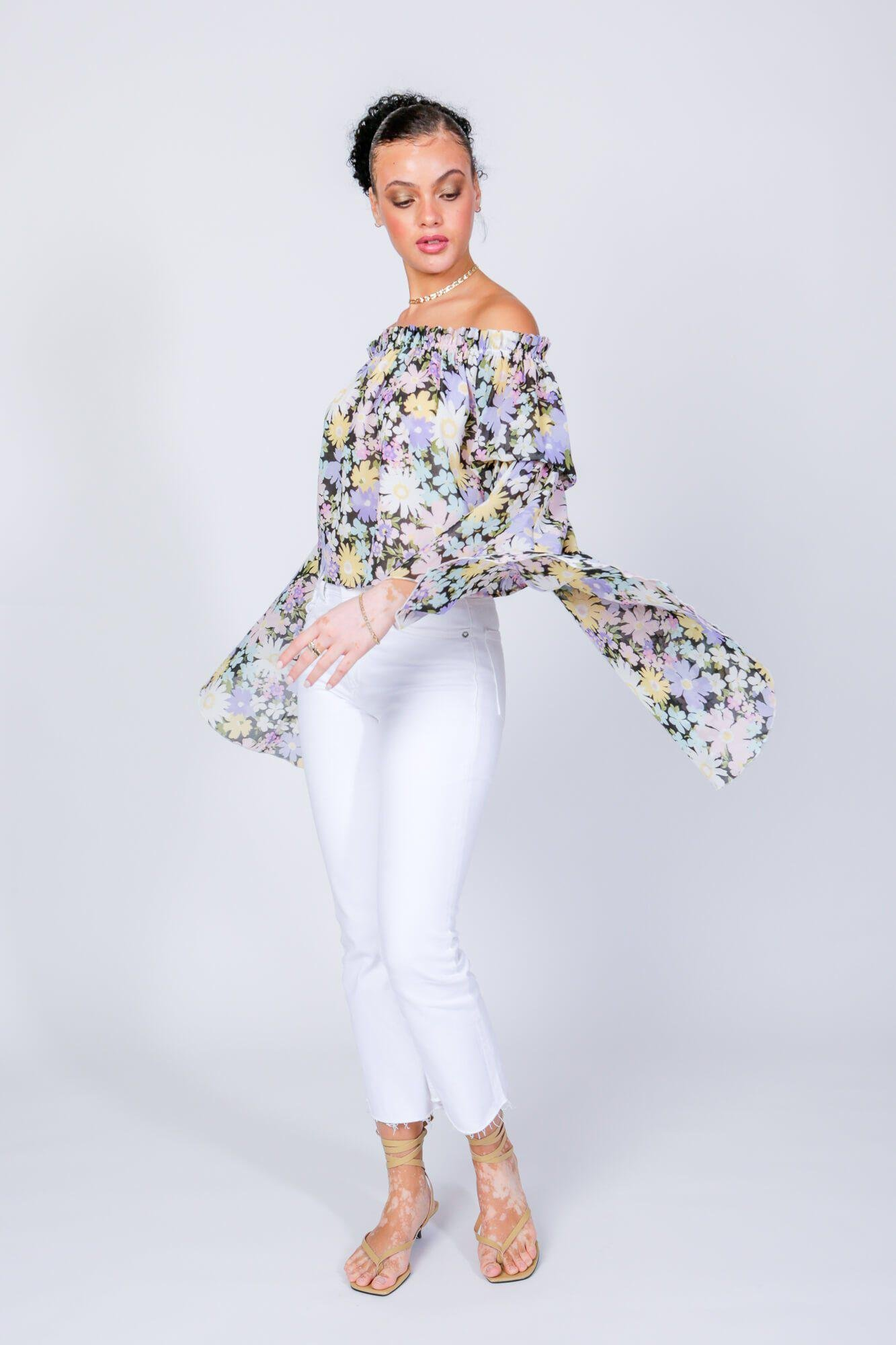 Daisy Print Brittney Off The Shoulder Bell Sleeve Top