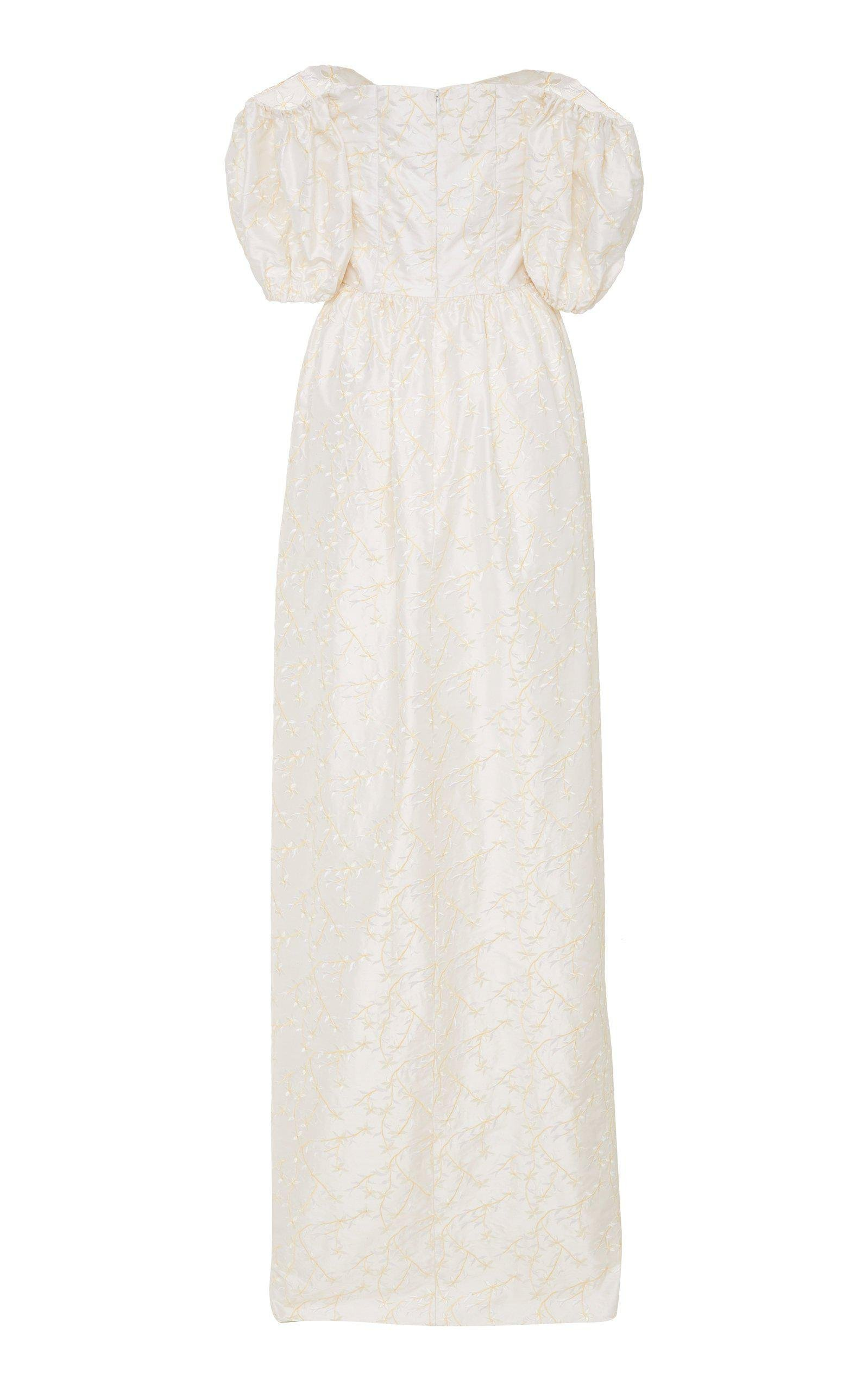 Archive Sale: White Floral Embroidered Silk Gown 2