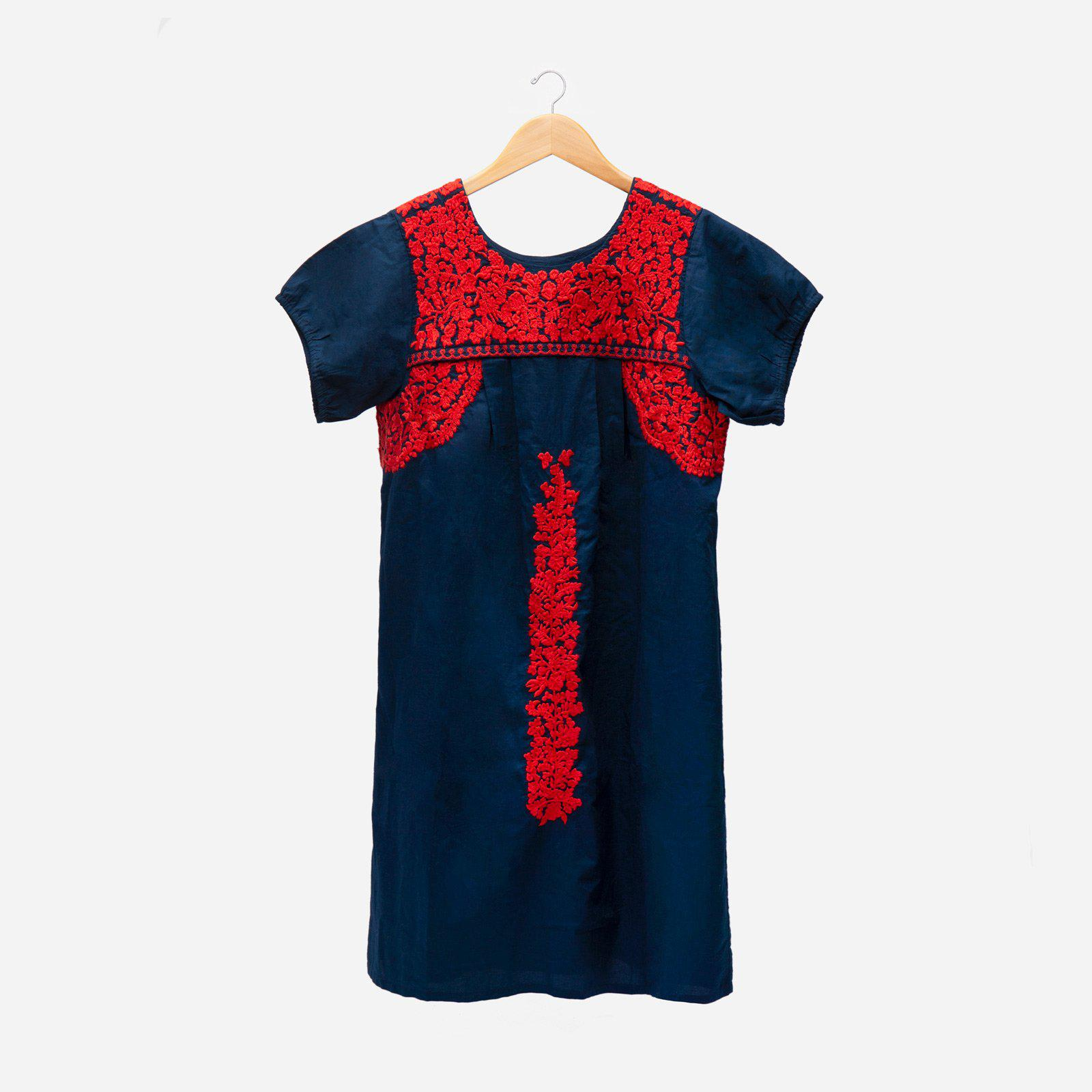 Floral Embroidered Lace Dress Navy Red 2