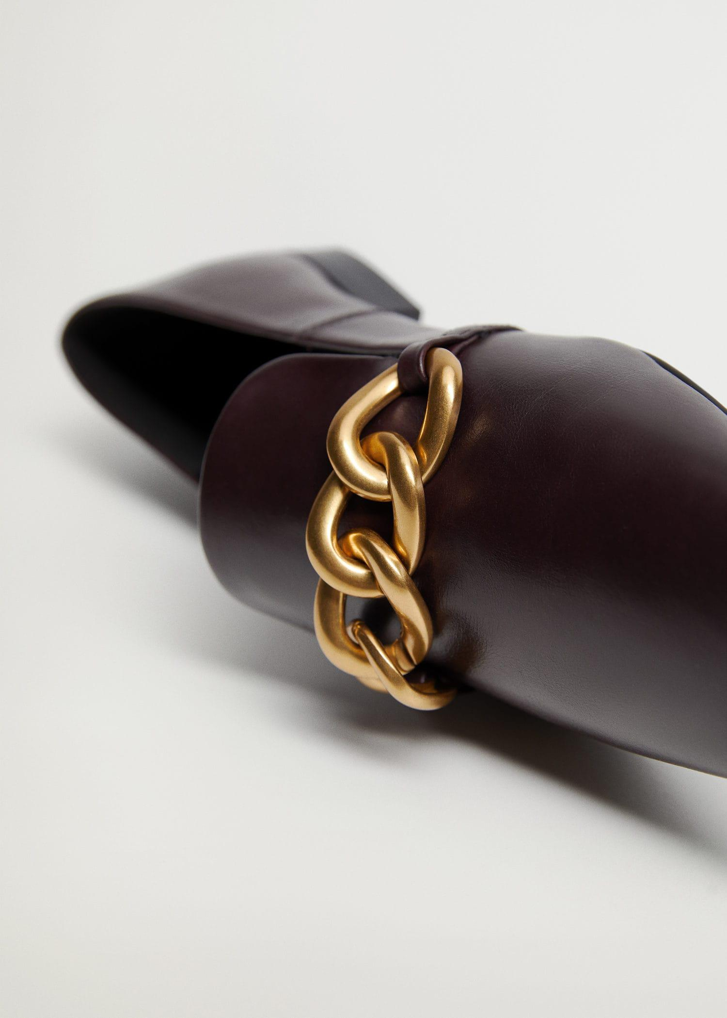 Leather loafers with chain 4