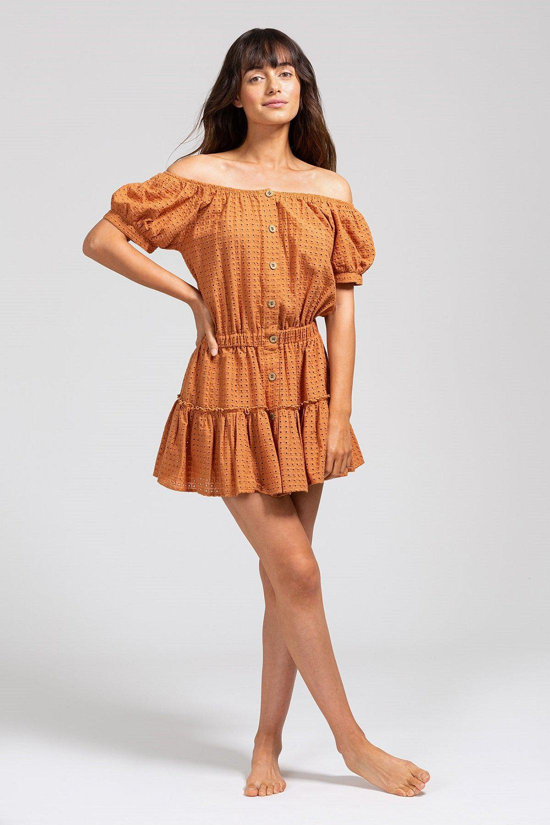 Elsie Cotton Eyelet Cover-Up - Pecan