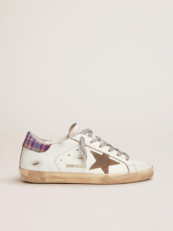 Super-Star sneakers with colored jacquard heel tab and snake-print suede star
