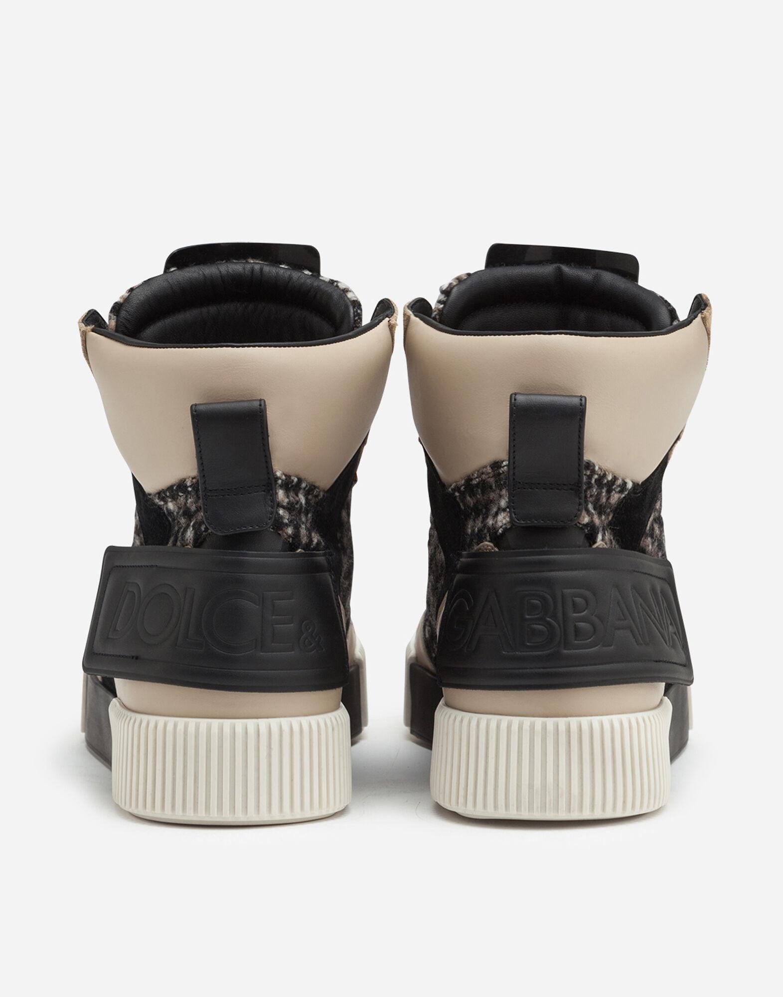 Miami high top sneakers in houndstooth and nappa leather 2