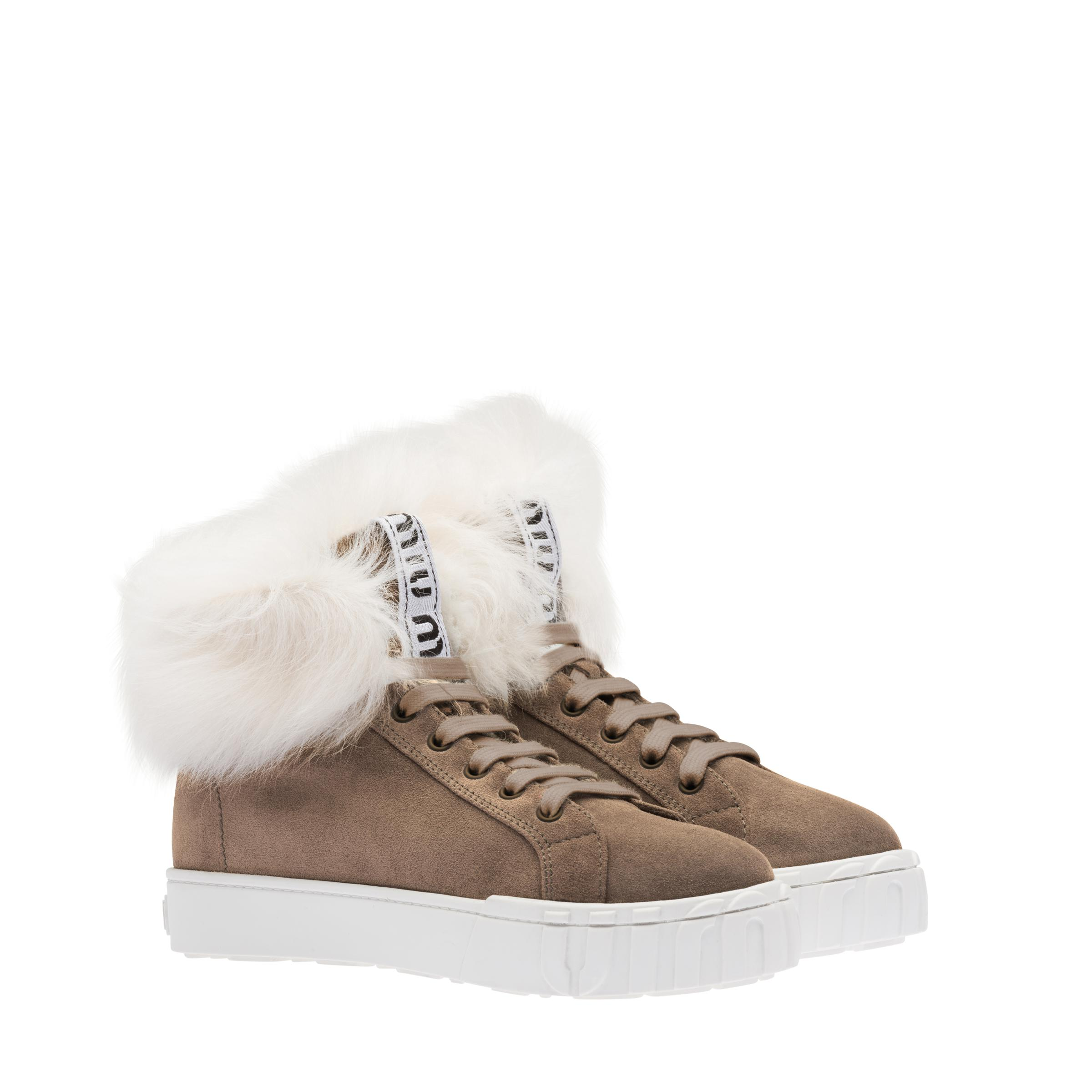Suede High-top Sneakers Women Mink-toned/natural