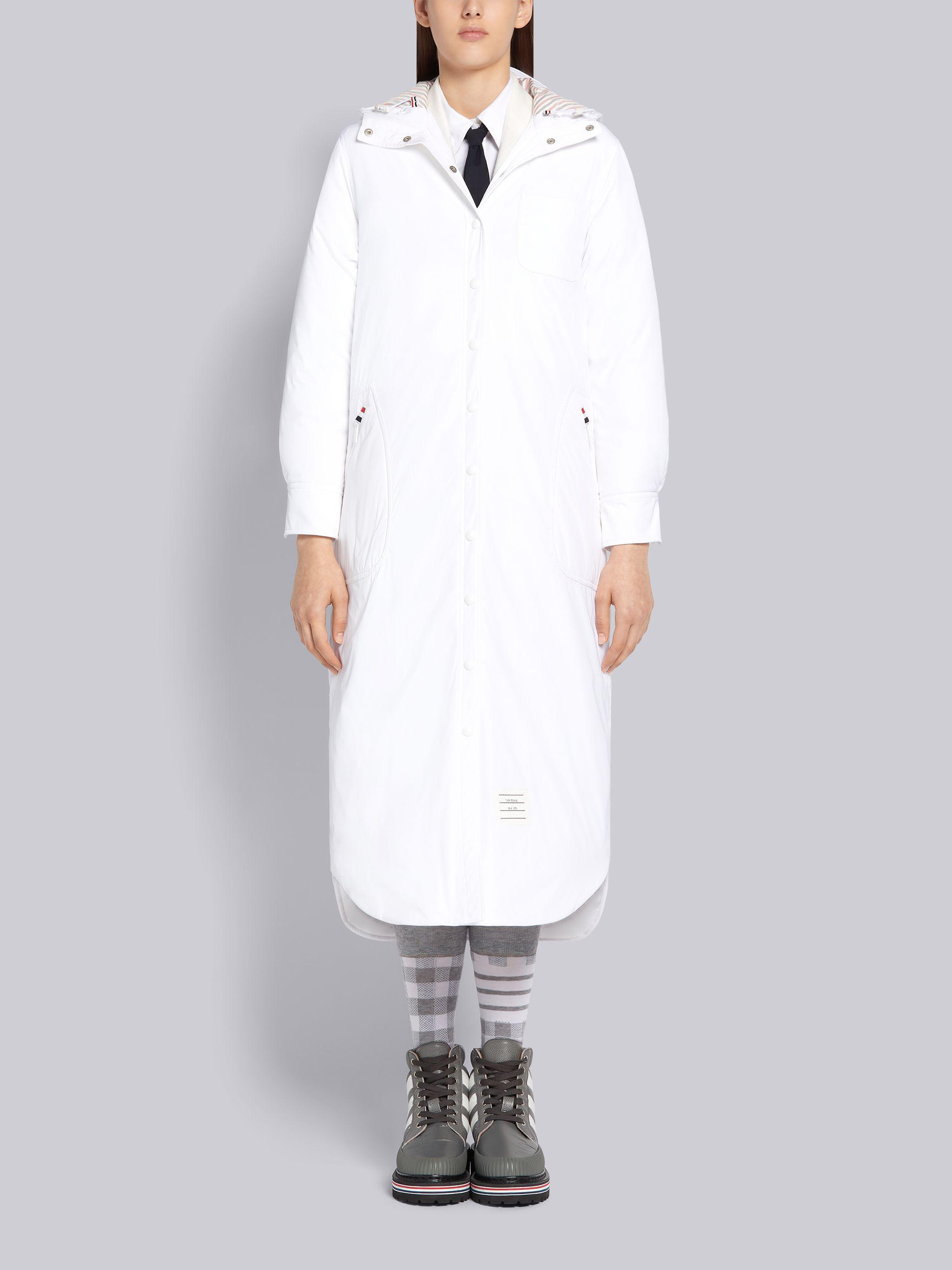 White Tech Down Filled Poly Twill Hooded Shirtdress