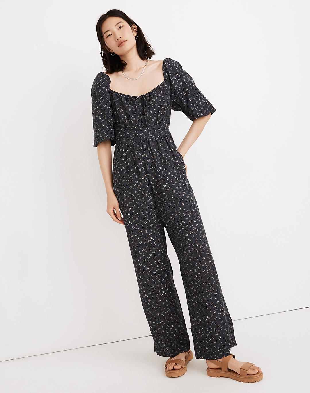 Square-Neck Bubble-Sleeve Jumpsuit in Spring Fling