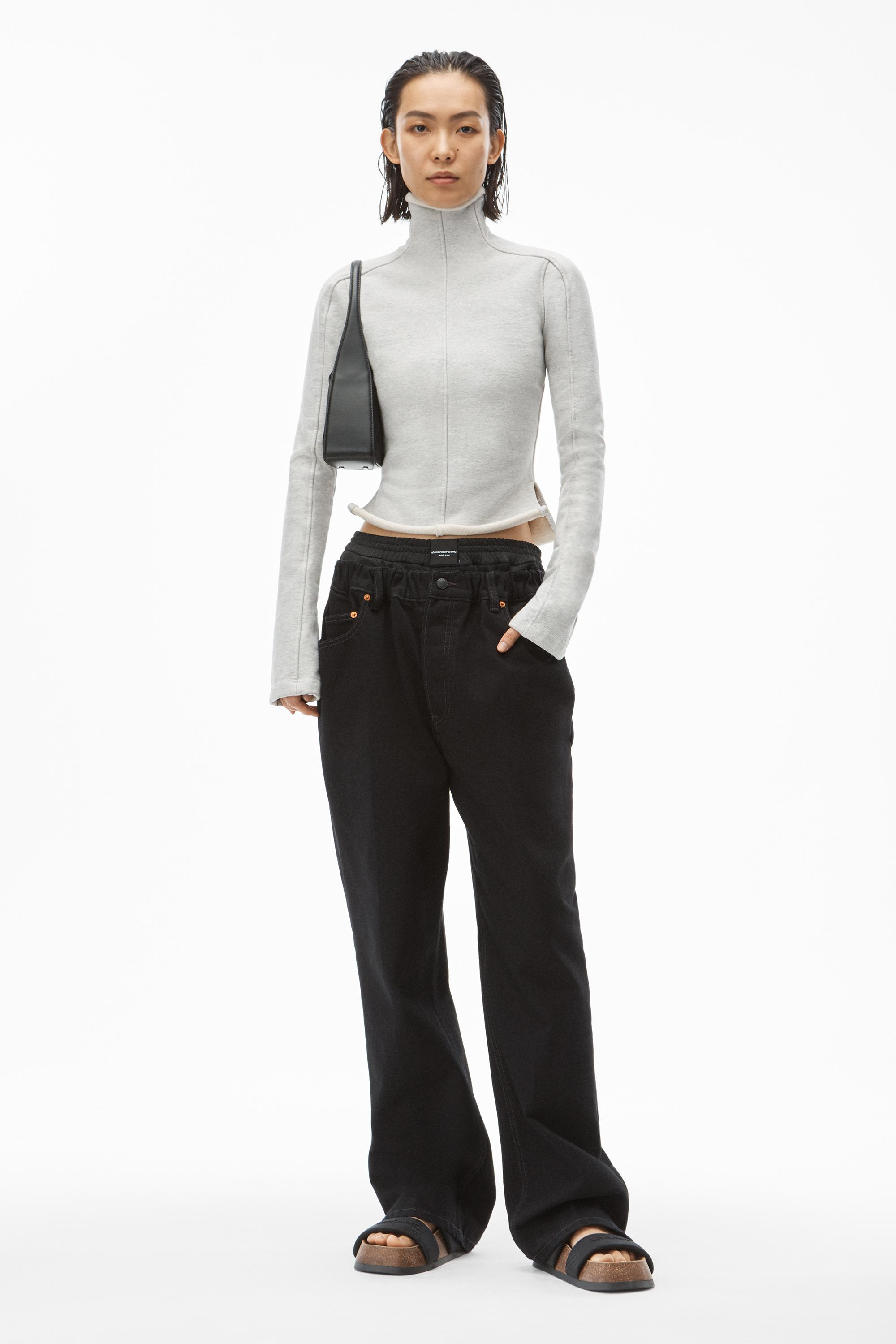 ruched waist baggy pant in denim