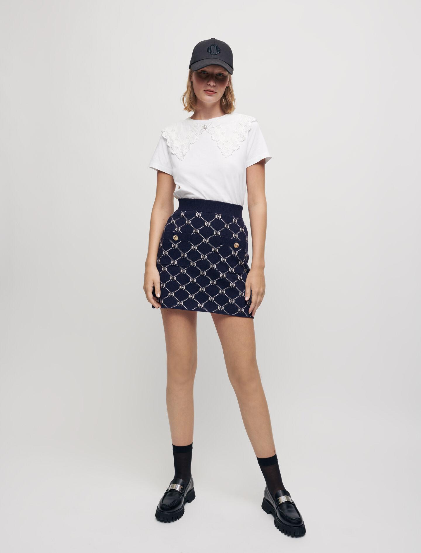 JACQUARD KNIT SKIRT WITH BOWS