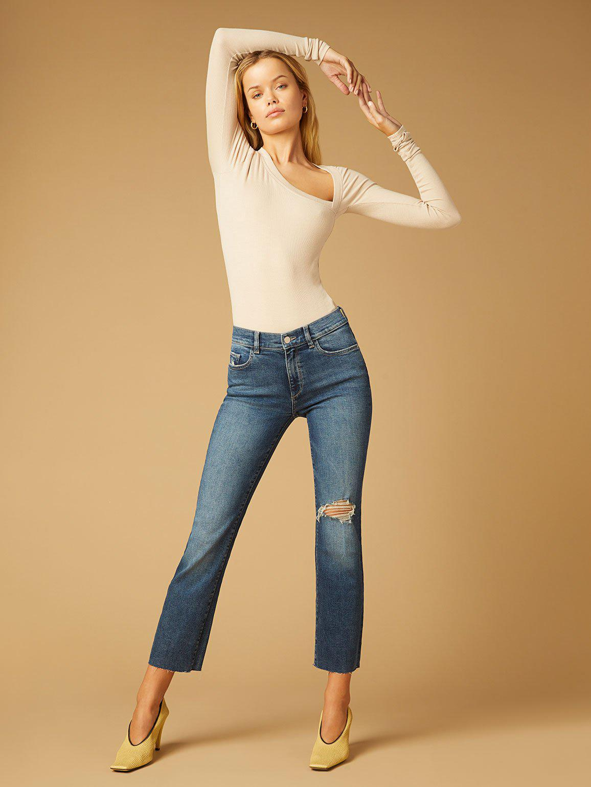 Mara Straight Mid Rise Instasculpt Ankle | Mid Distressed