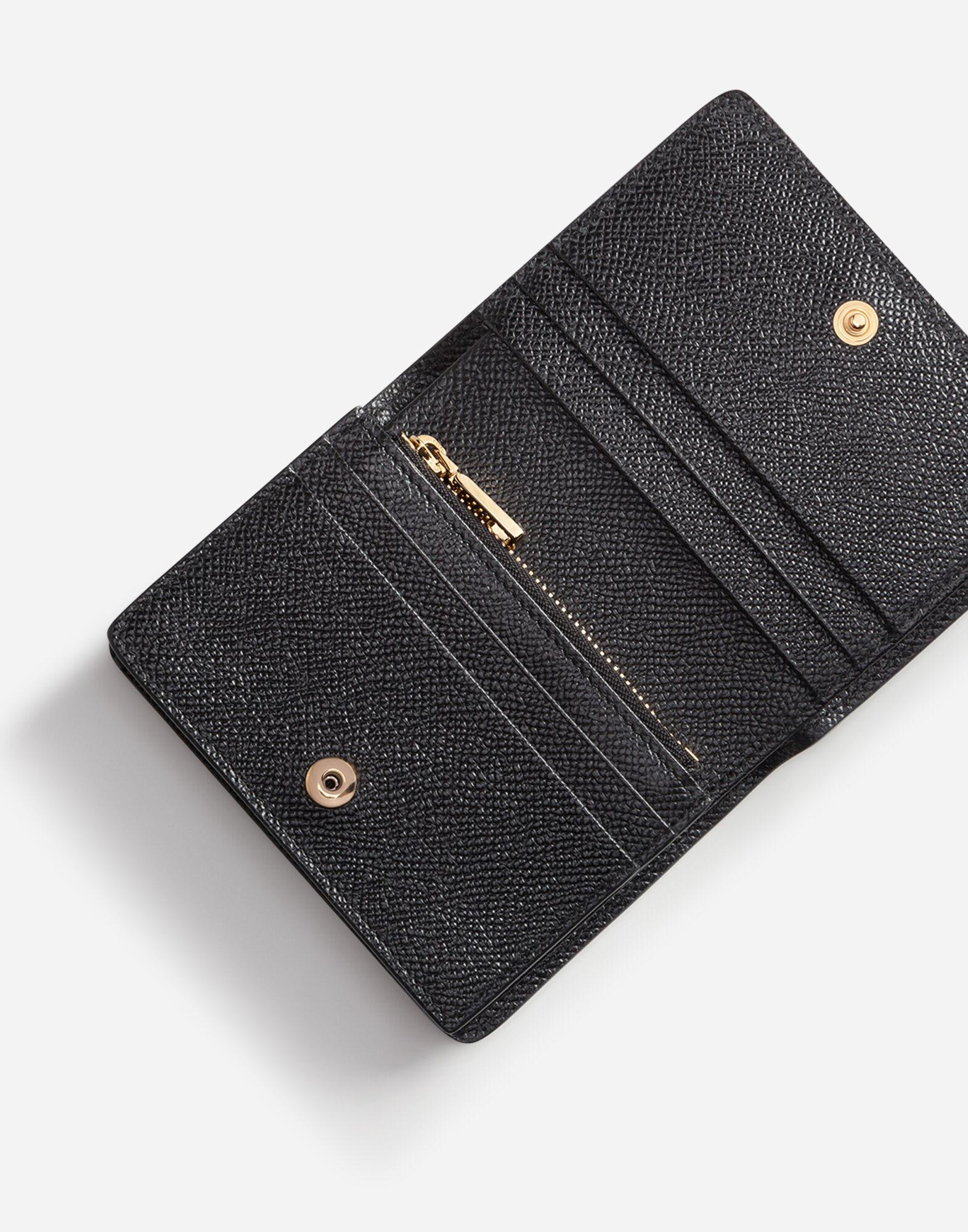 Small continental wallet in dauphine calfskin with rhinestone DG logo 3