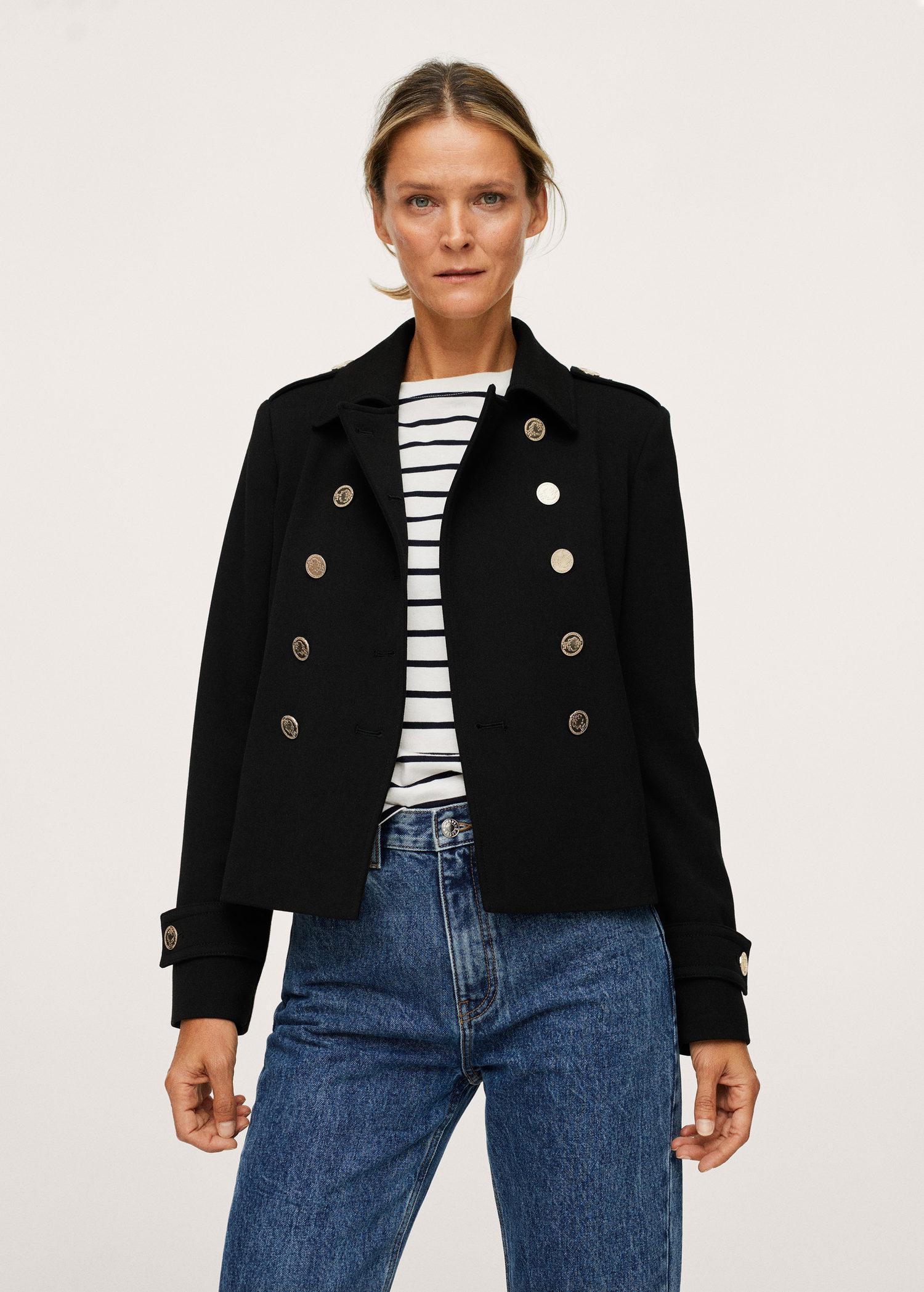 Double-breasted jacket with buttons