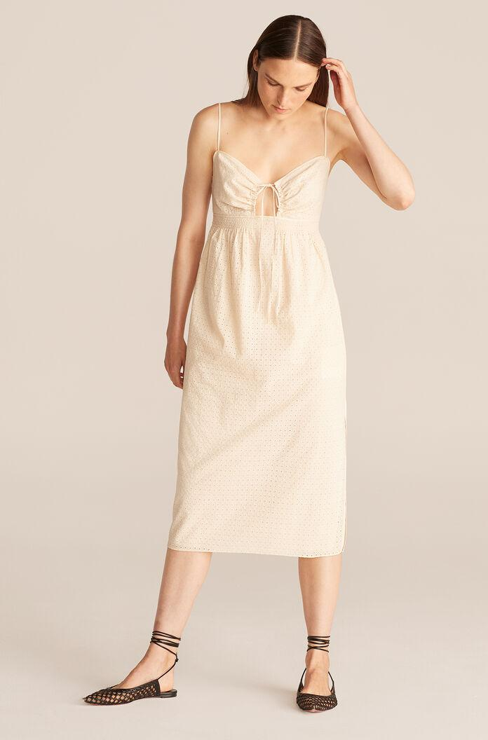 LYRA EMBROIDERED CUTOUT FRONT MIDI DRESS 1