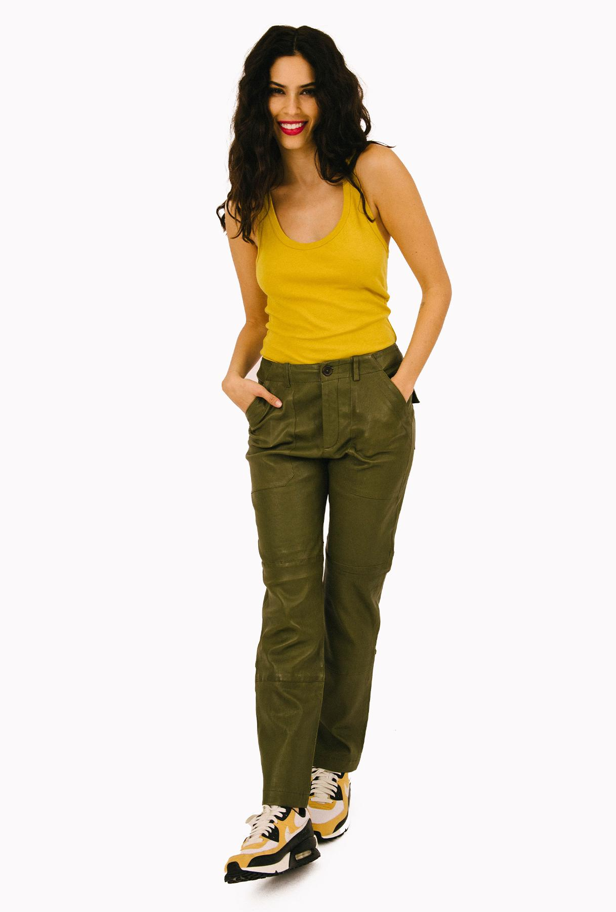 Sage Leather Army Pant