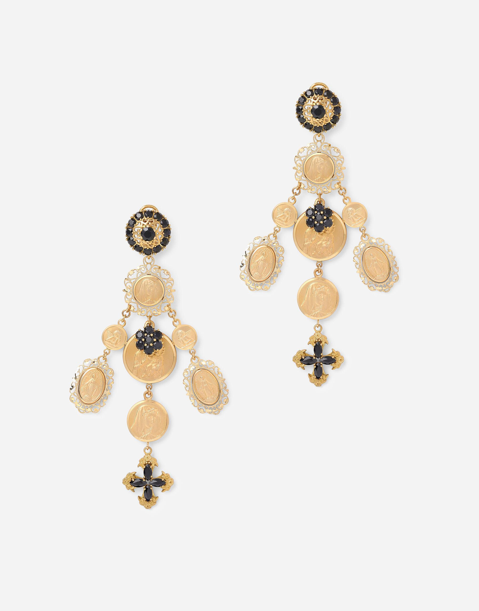 Sicily earrings in yellow 18kt gold with medals