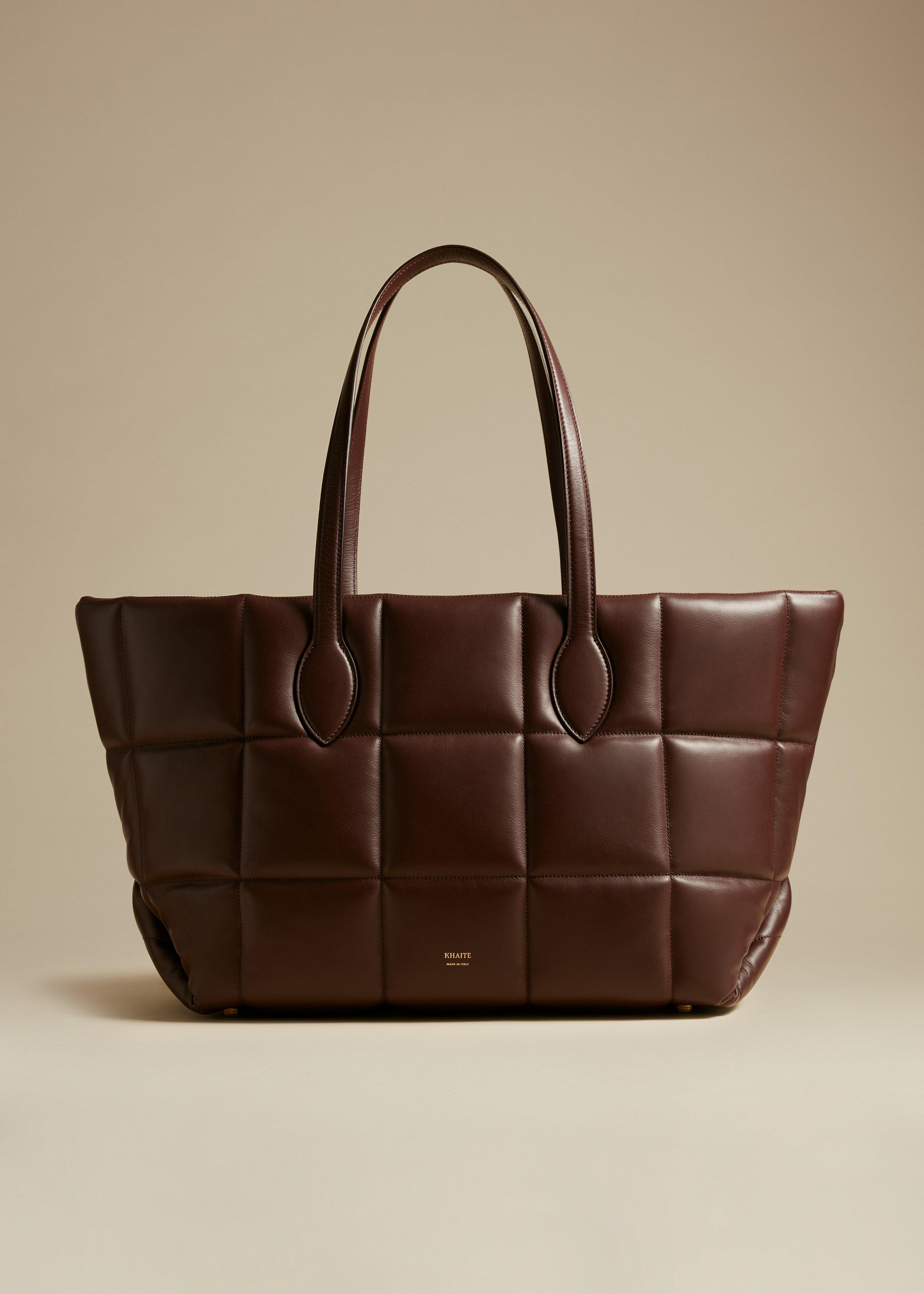 The Florence Quilted Tote in Deep Red Leather