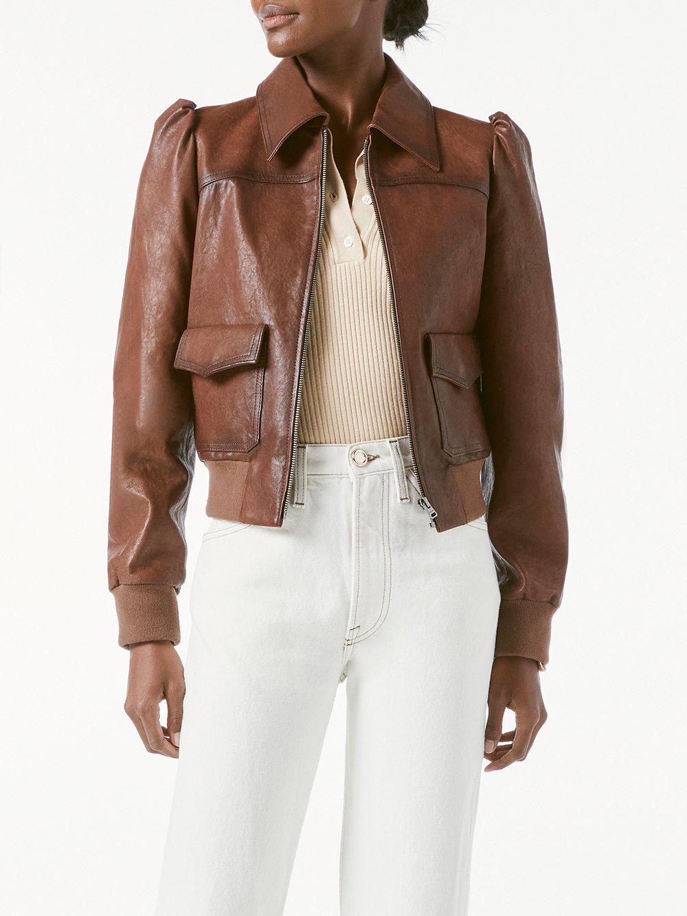 Femme Leather Bomber -- Deep Tobacco