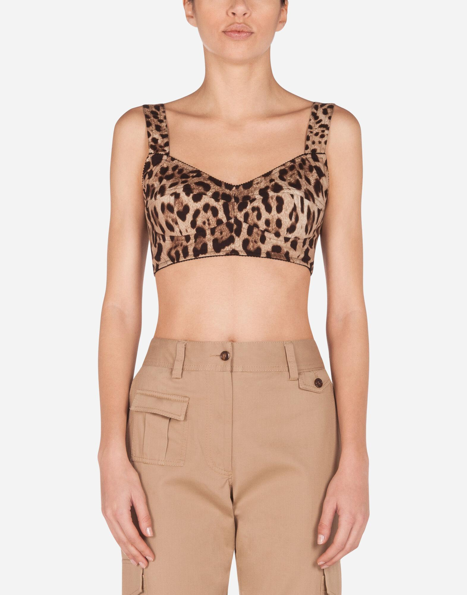 Short bustier top in charmeuse with leopard print