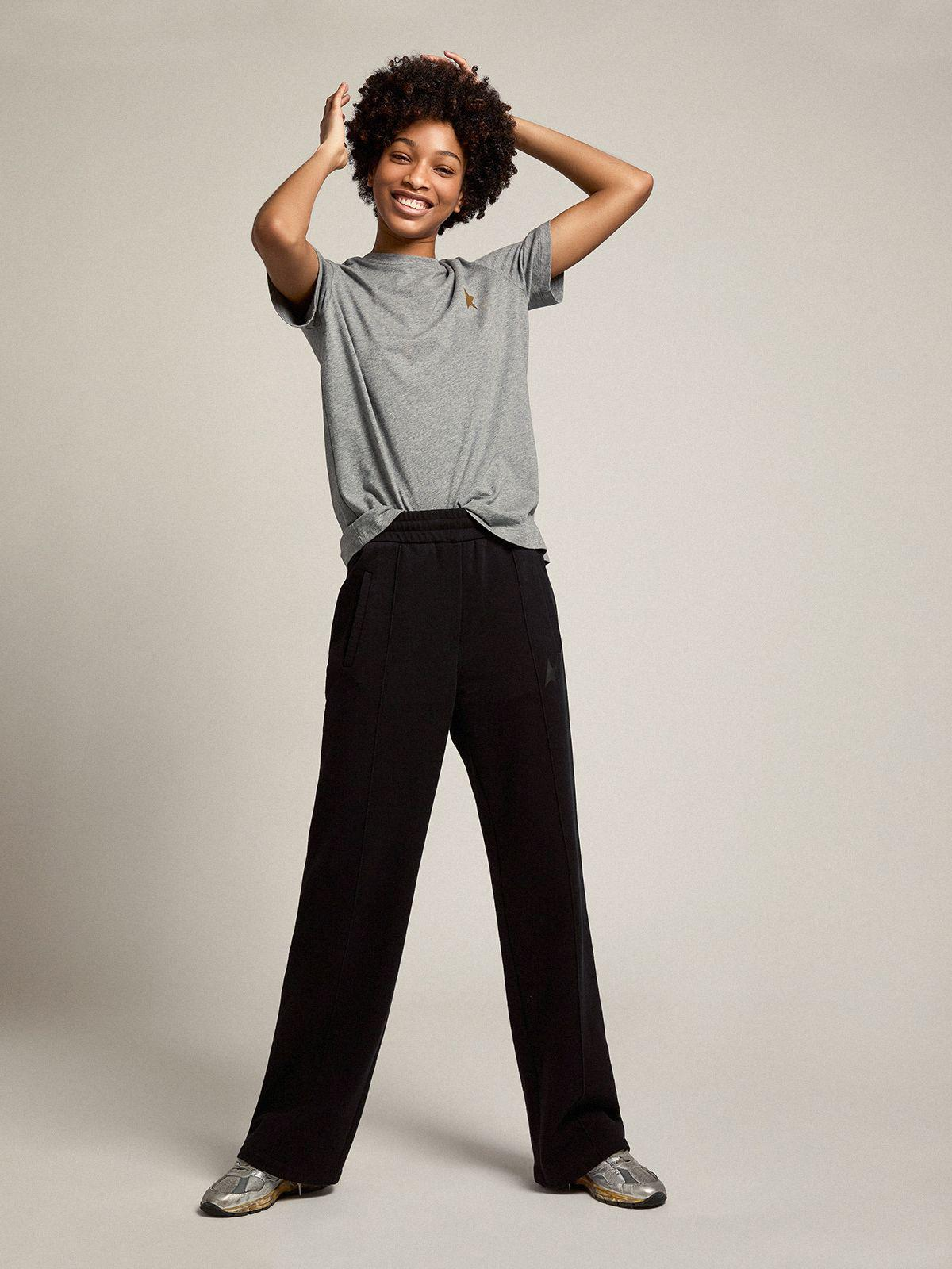 Black Dorotea Star Collection jogging pants with tone-on-tone star on the front 2