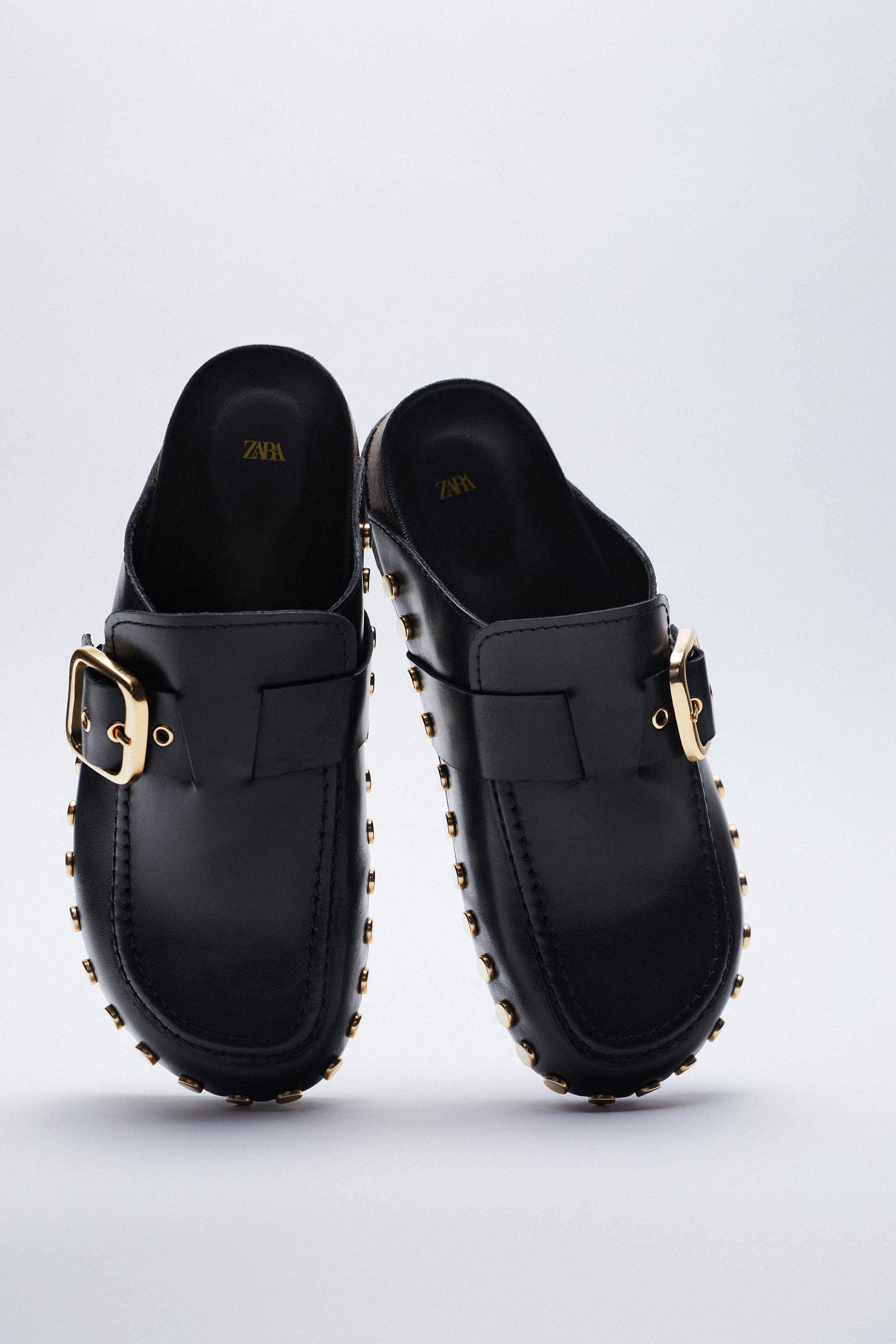 LOW HEEL LEATHER CLOGS WITH STUDS 3