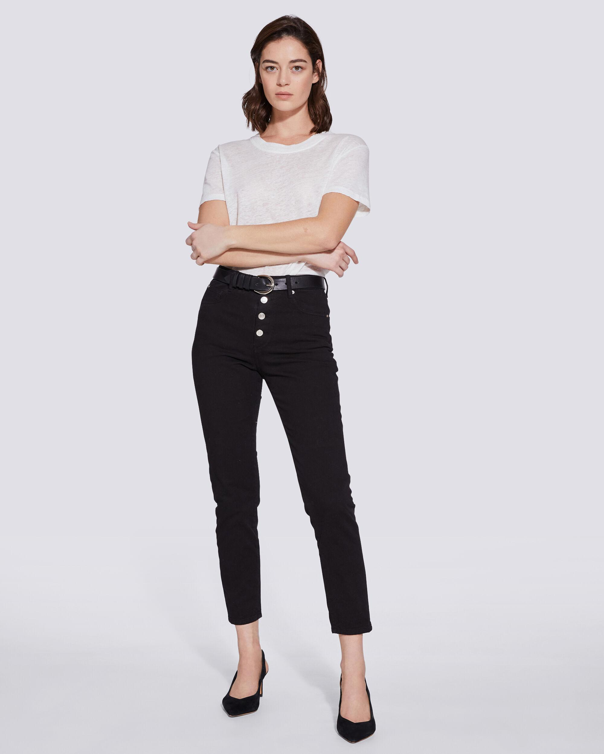 ESME HIGH RISE BUTTON FRONT CROPPED JEANS