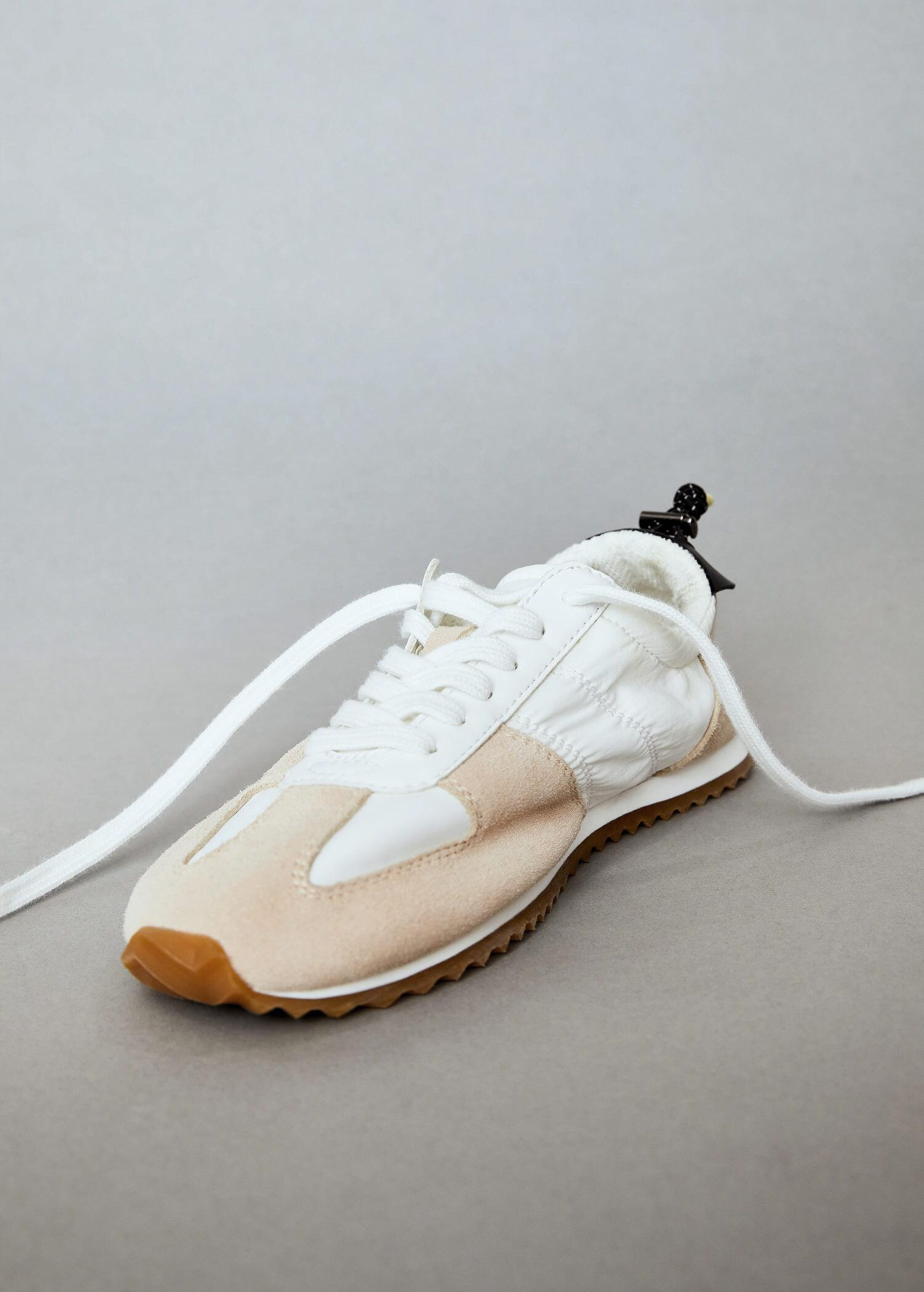 Leather mixed sneakers 5