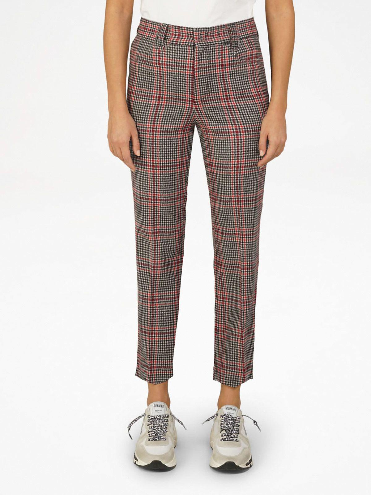 Algisa trousers with houndstooth tartan pattern