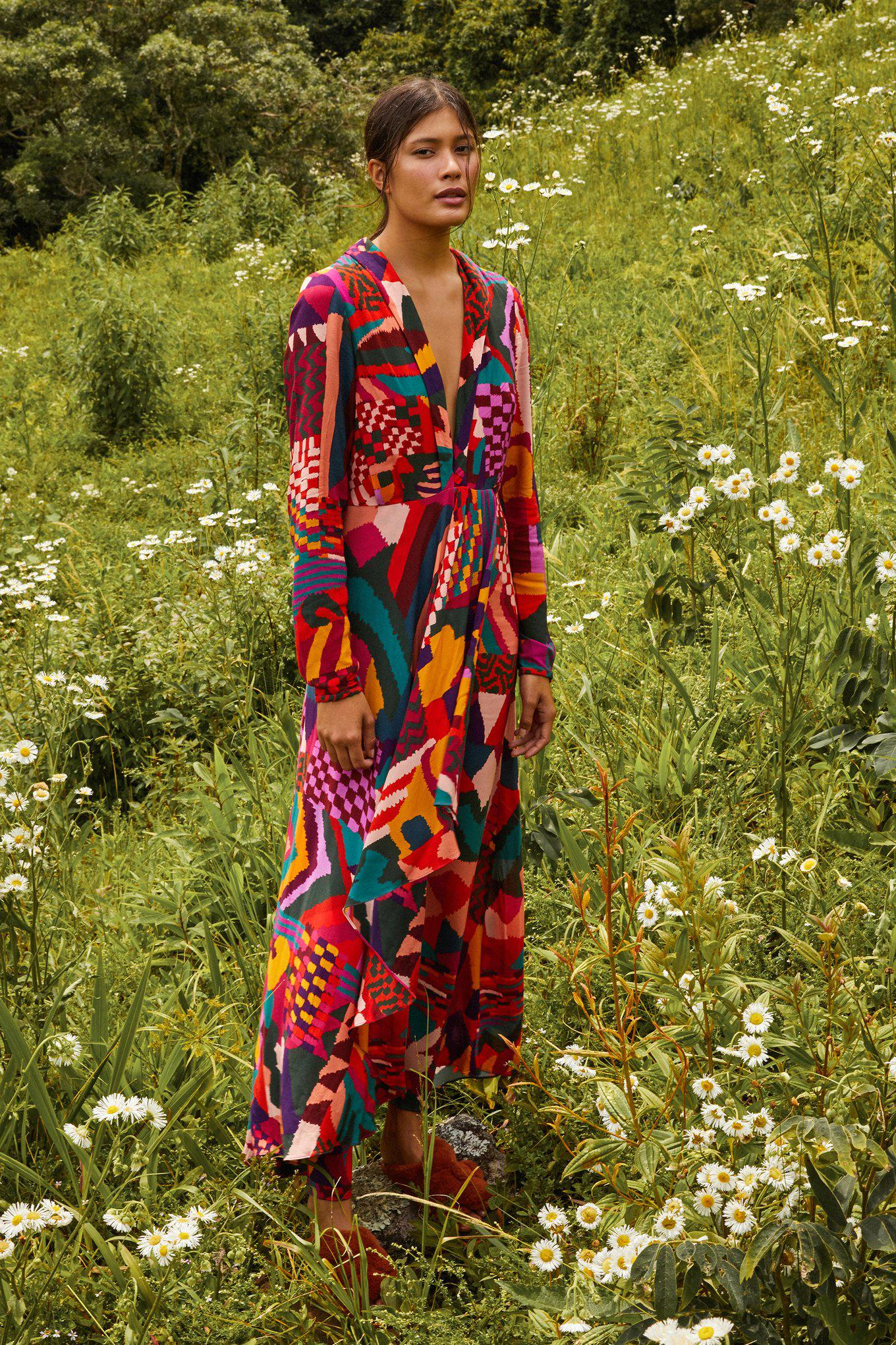 RED ABSTRACT PATCHES MAXI DRESS