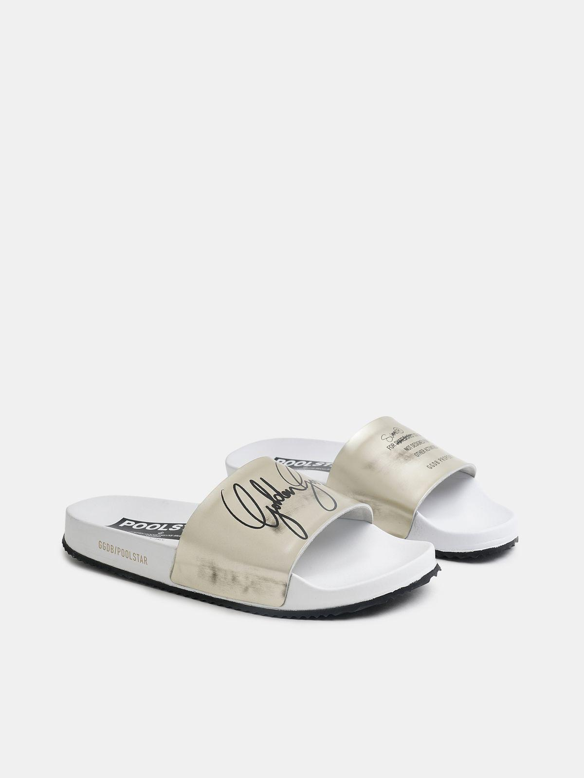 Women's white Poolstars with gold strap 2