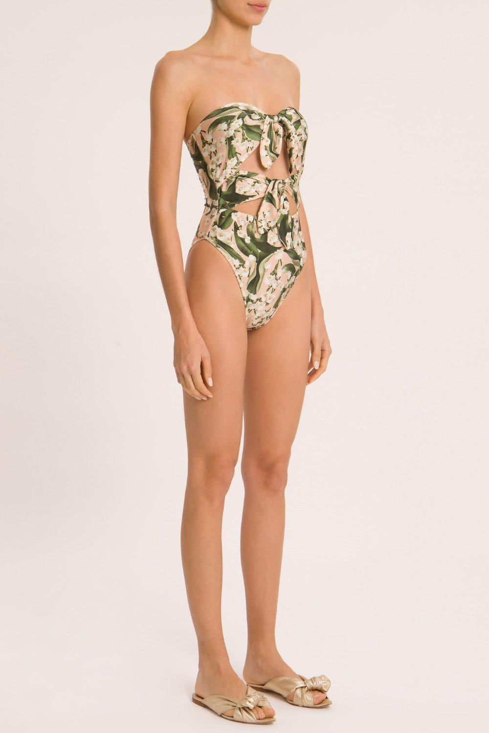 Muguet Strapless High-Leg Swimsuit With Double Knot