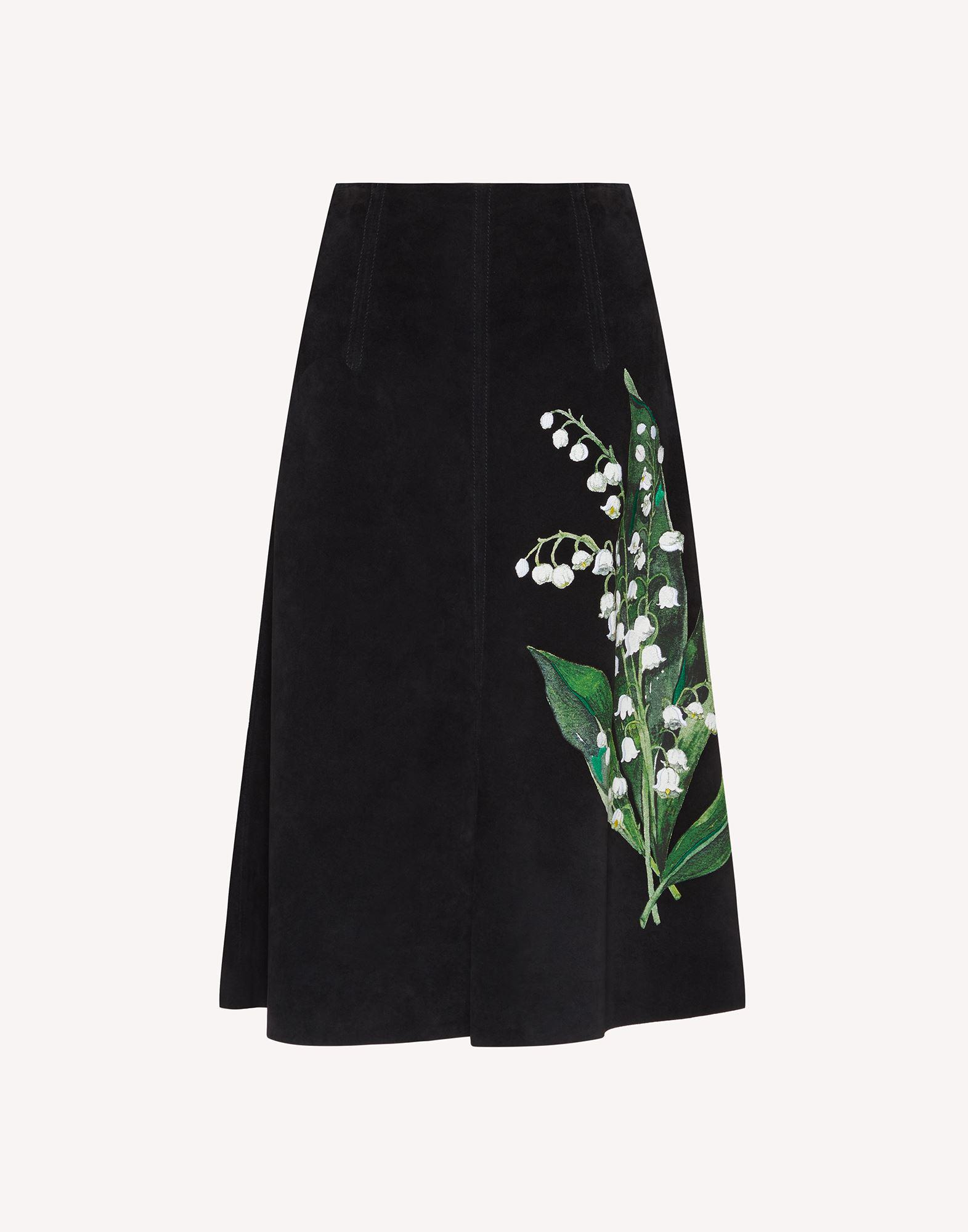 A-LINE SUEDE SKIRT WITH MAY LILY EMBROIDERY 4