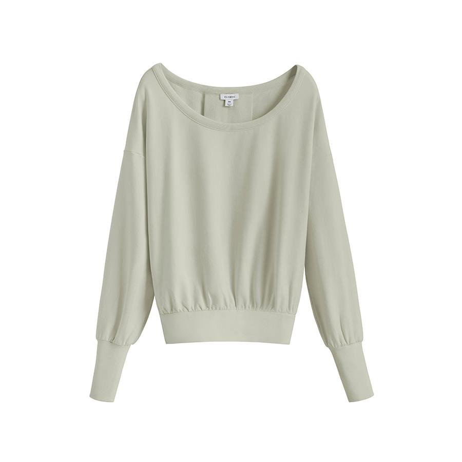 Women's French Terry Boatneck Sweatshirt in Sage | Size: