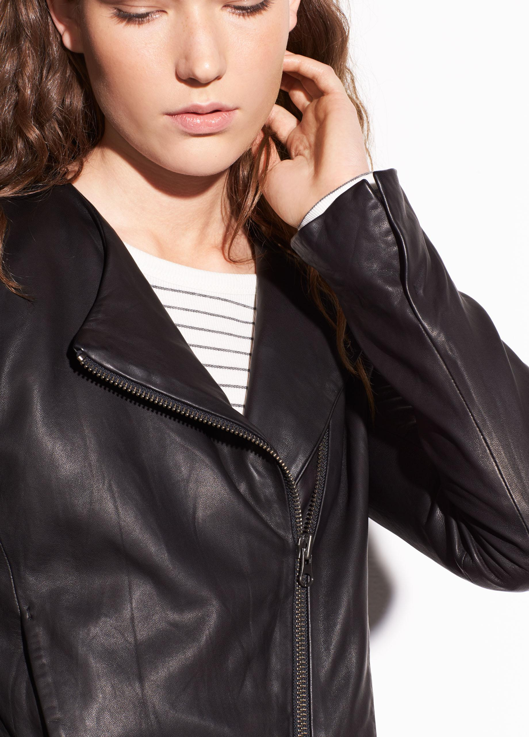 Cross Front Leather Jacket 3