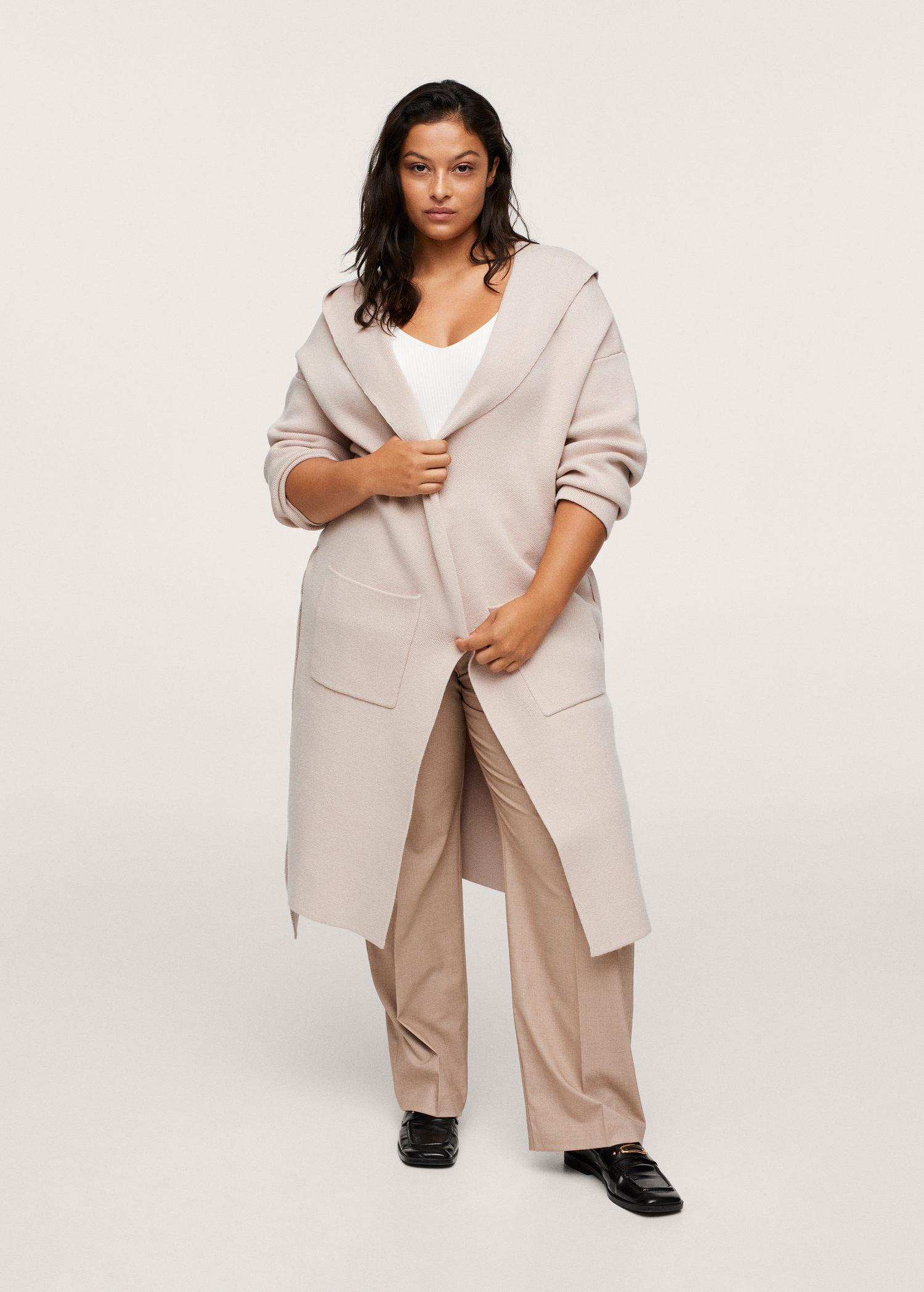 Hooded knitted coat