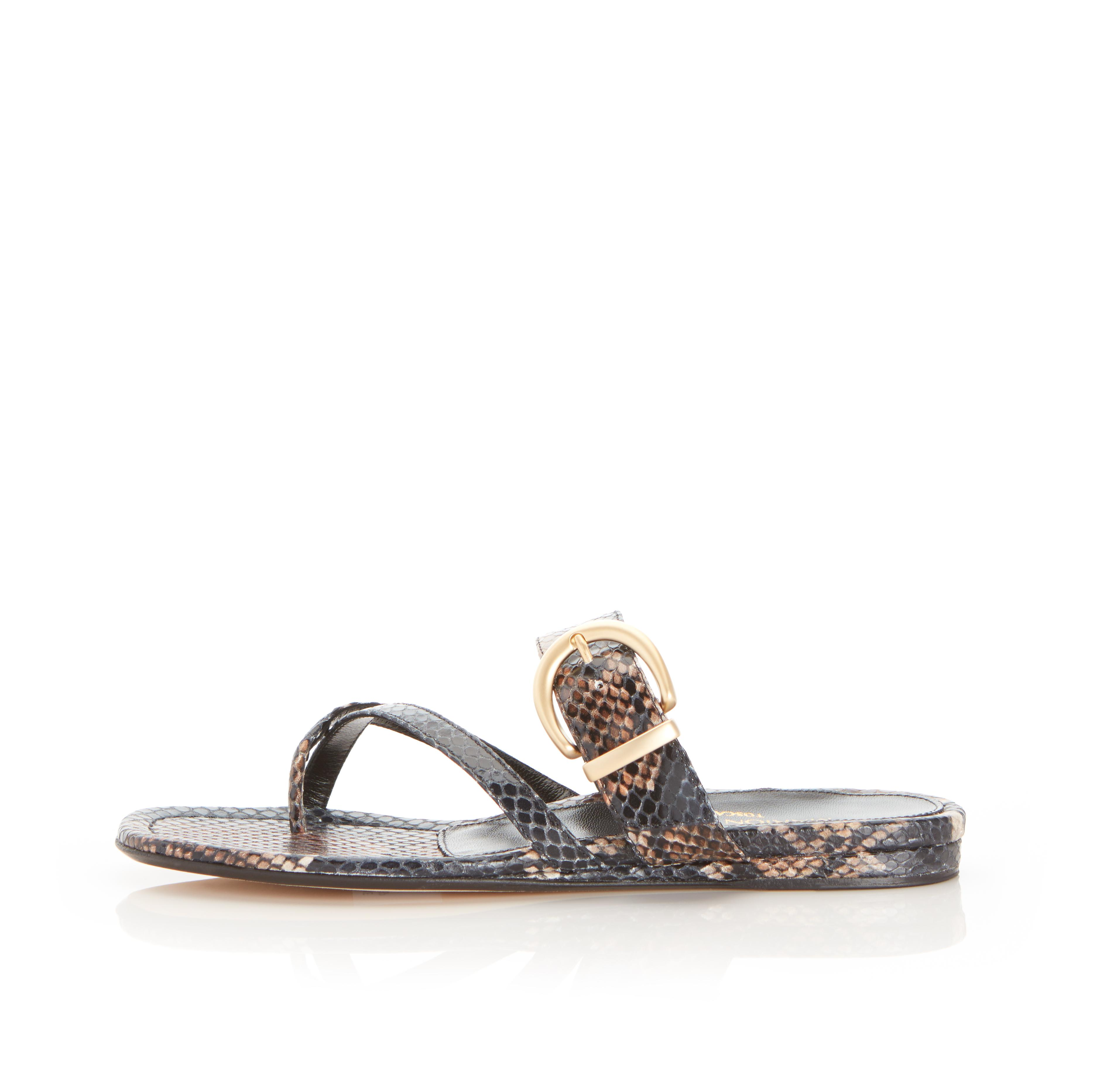 Hayley | Leather Thong Sandal With Metal Buckle Detail 0