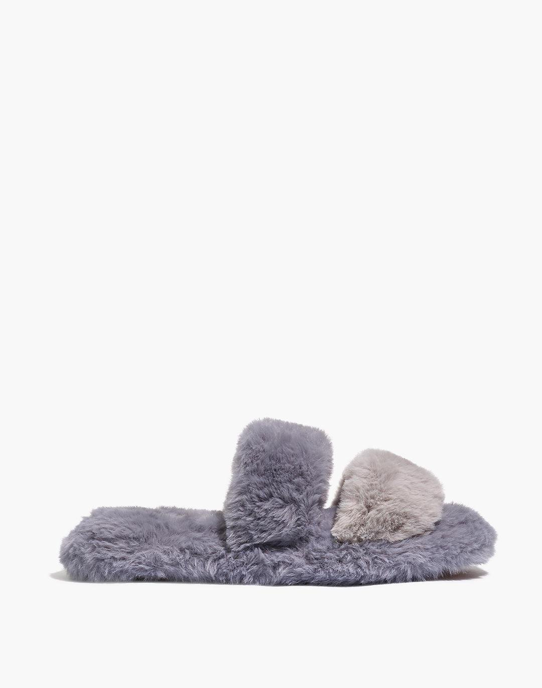 Two-Strap Scuff Slippers in Recycled Faux Fur 1