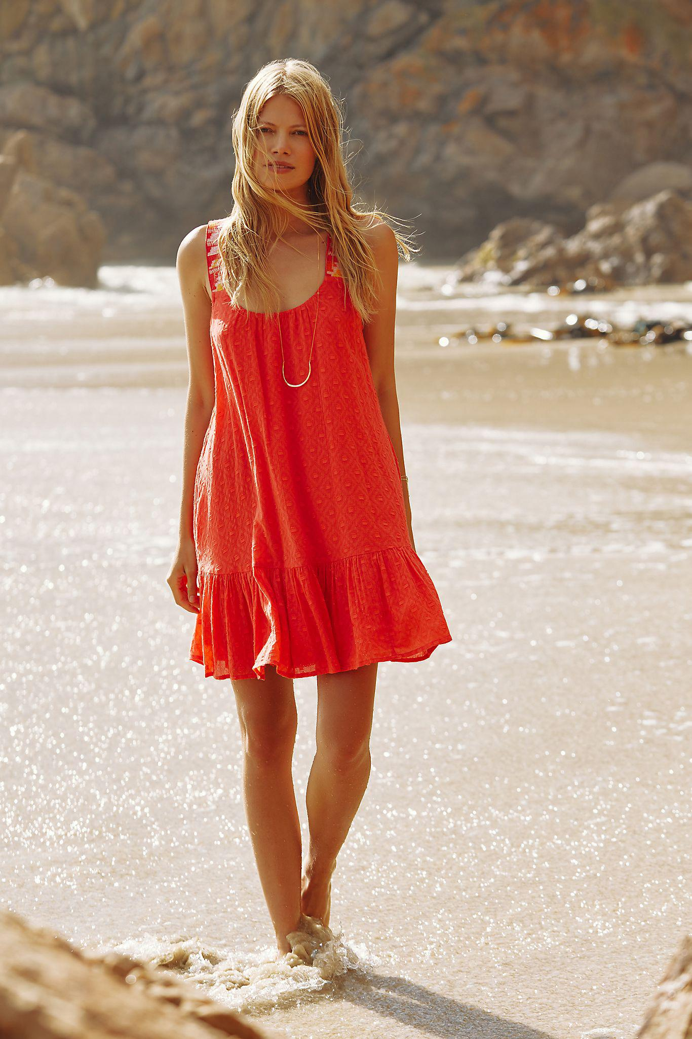 Coral Embroidered Tunic Dress
