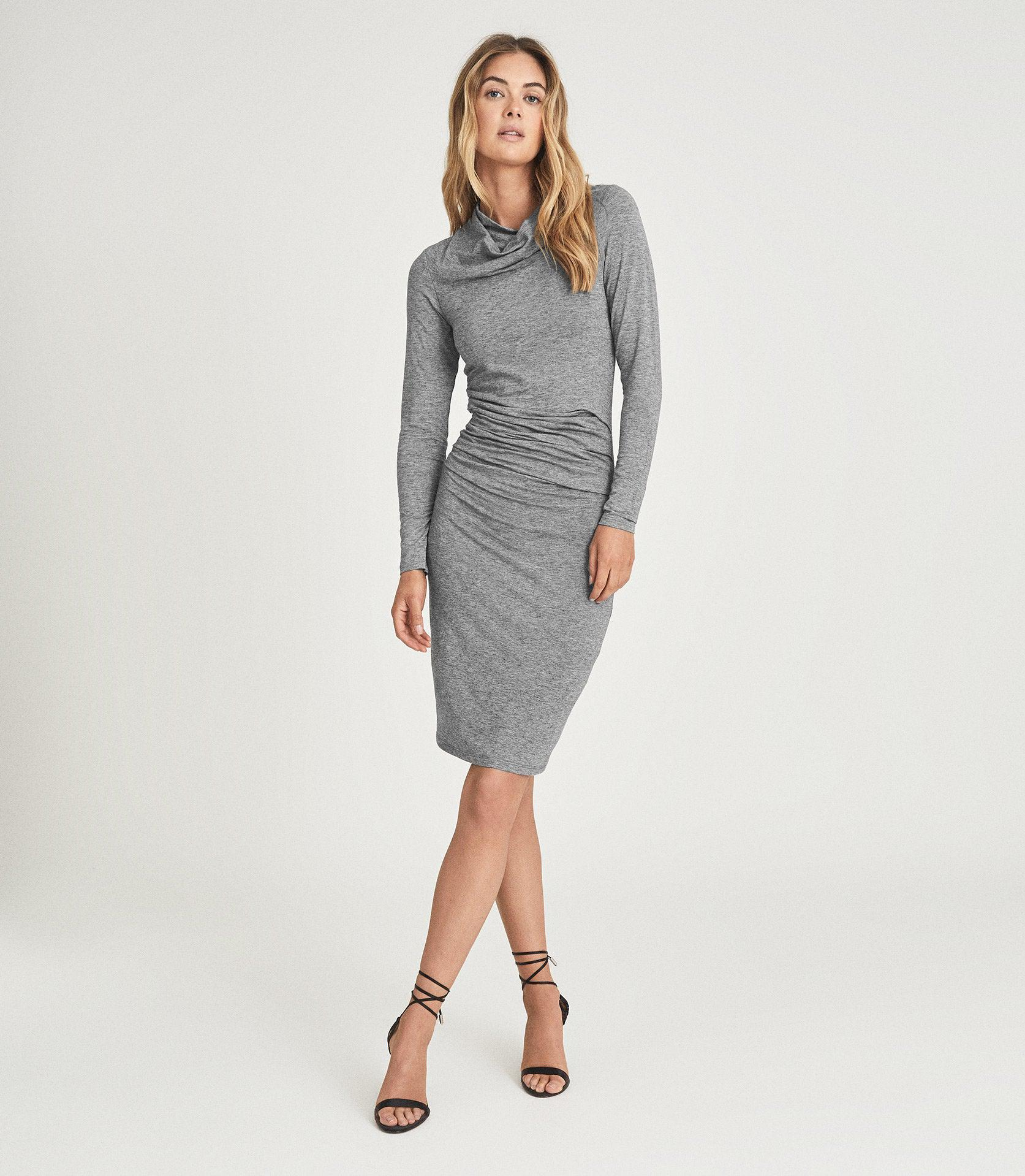 SARA - RUCHED WOOL-JERSEY BODYCON DRESS
