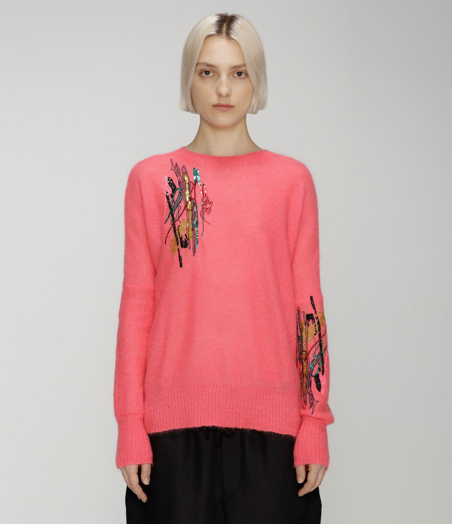 Squiggle sequin mohair sweater